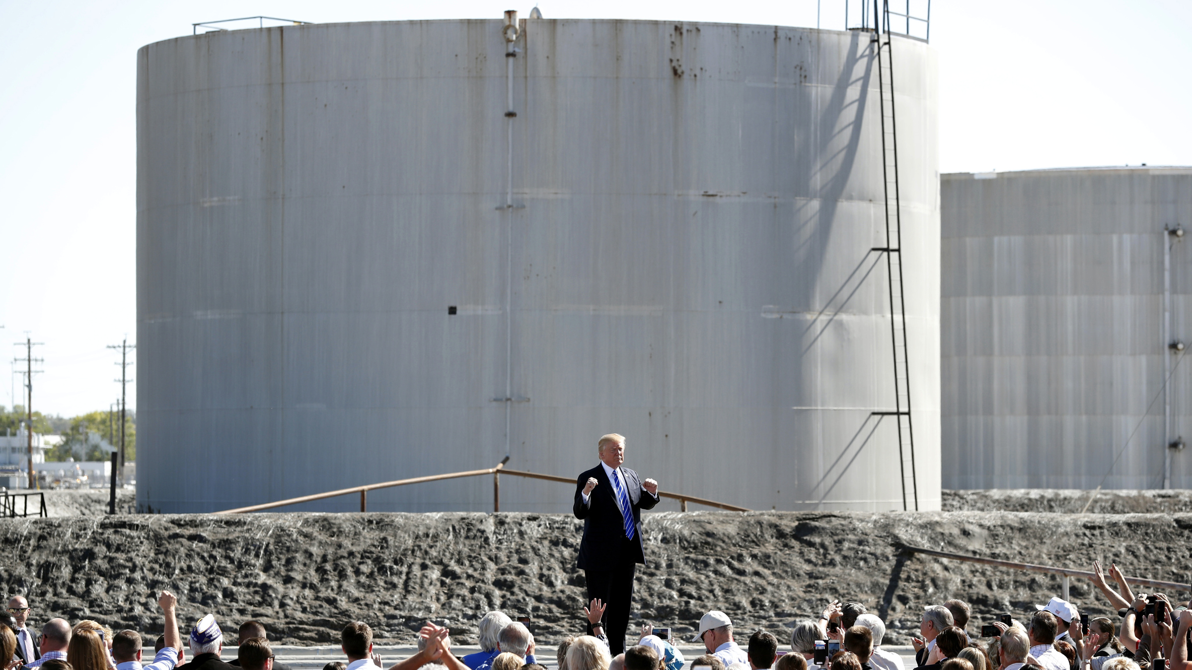 Donald Trump speaks at an oil refinery in September 2017.