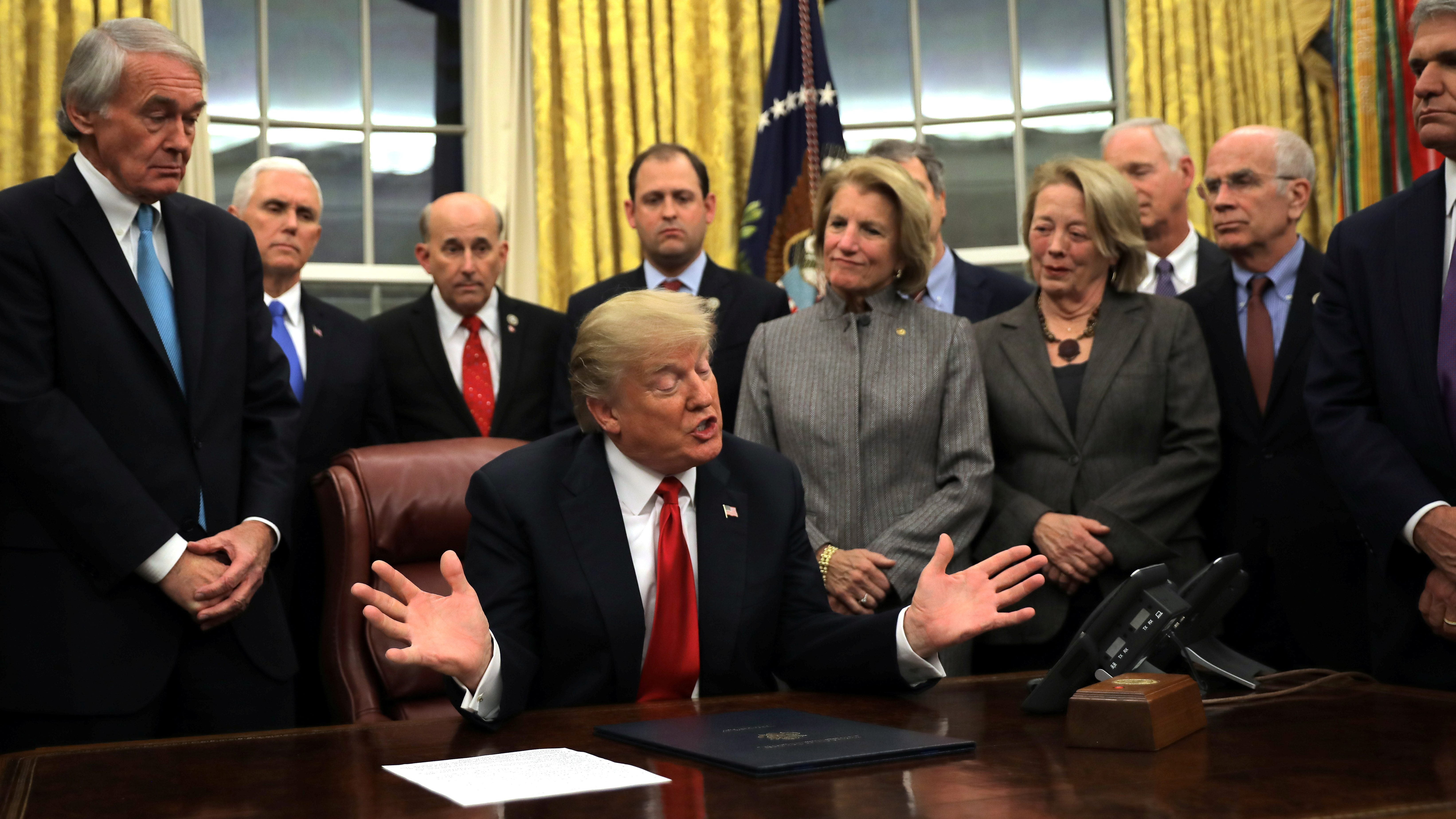 U.S. President Donald Trump speaks during a signing ceremony for the Interdict Act into law, to provide Customs and Border Protection agents with the latest screening technology on the fight against the opioid crisis, in the Oval Office of the White House in Washington D.C., U.S., January 10, 2018.