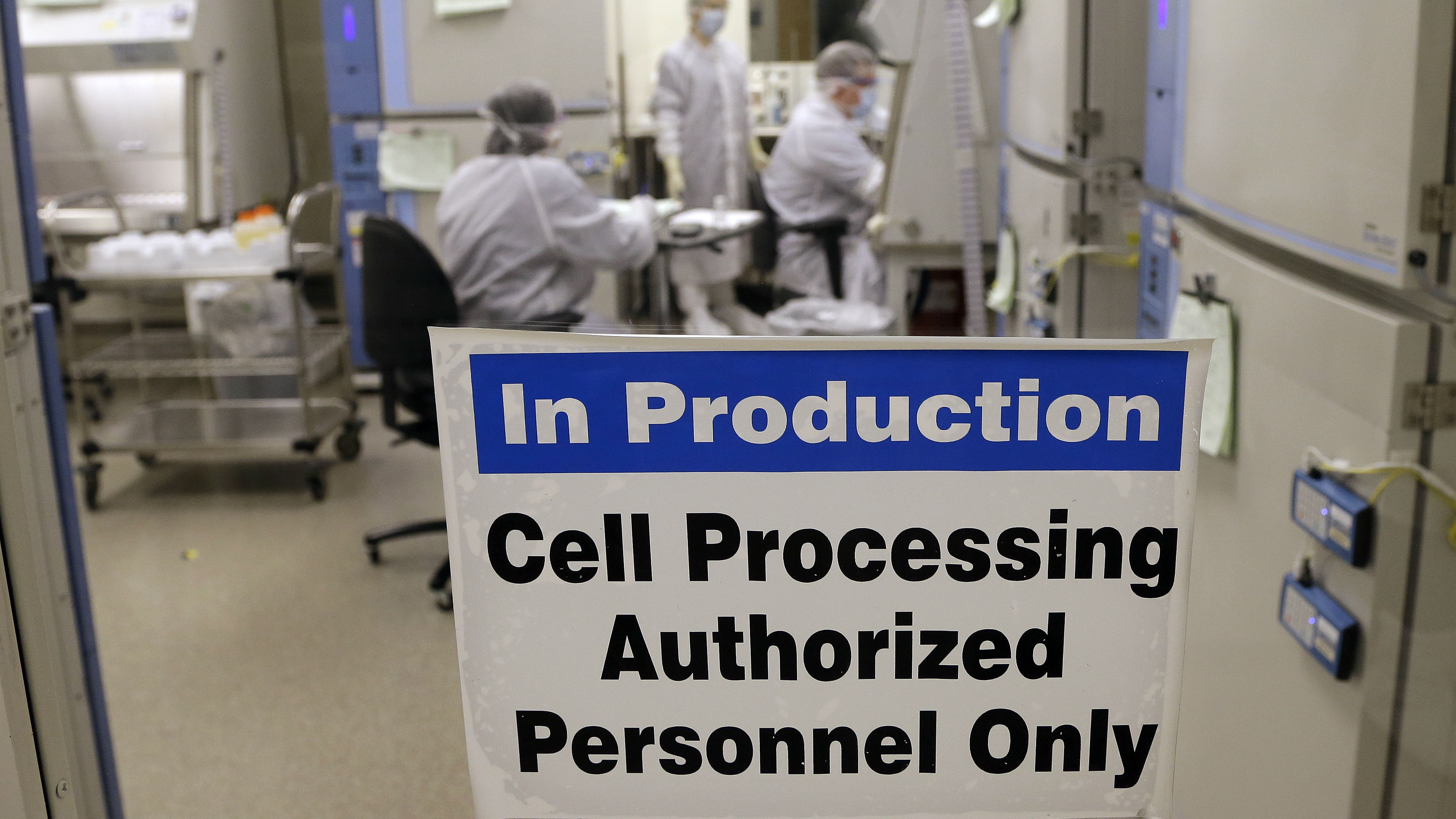 This photo taken March 29, 2017, shows the cell processing facility at the Fred Hutchinson Cancer Research Center where workers create customized cellular immunotherapies for patients, genetically engineering their own immune system's T cells into better cancer killers