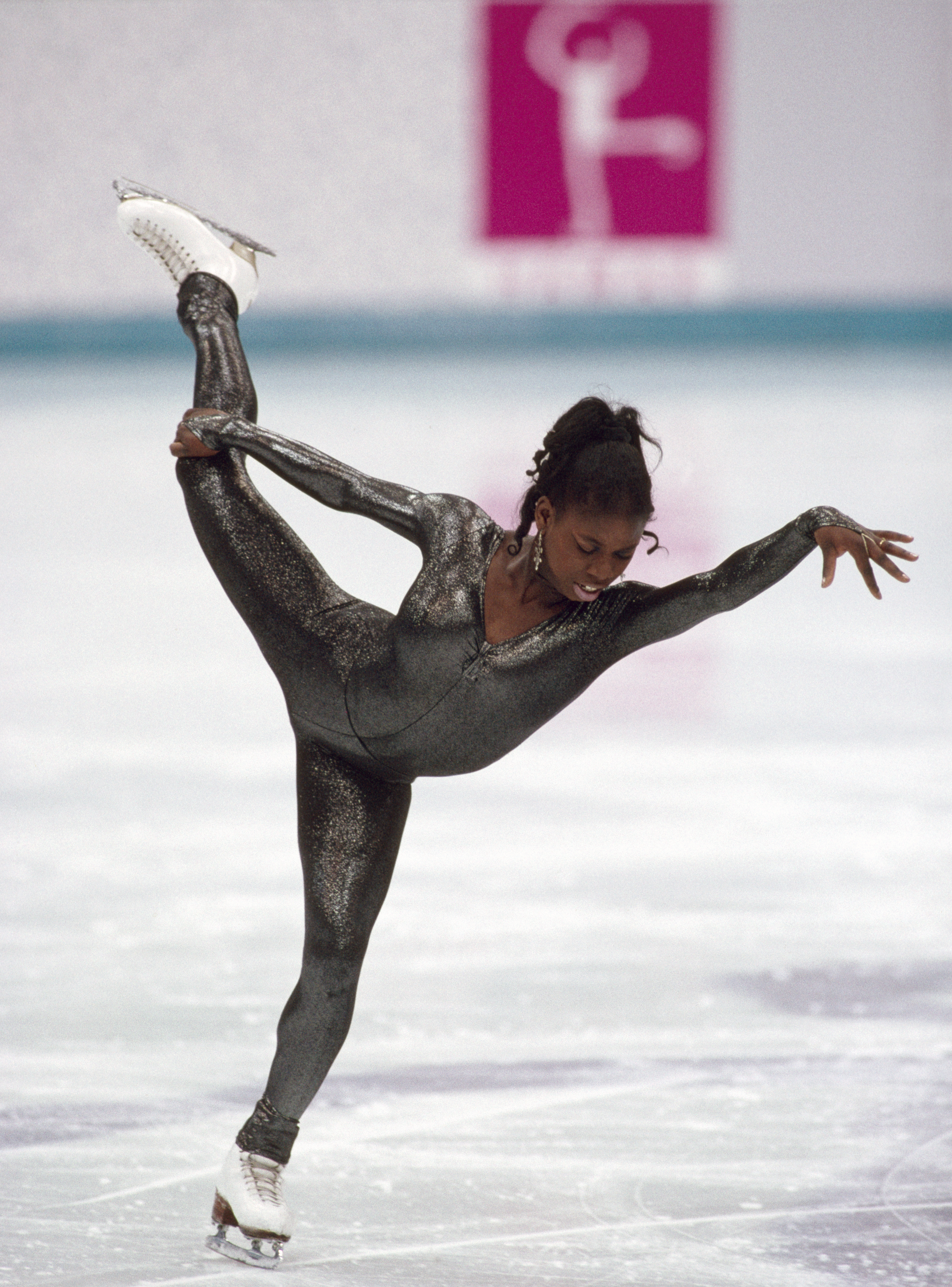 Surya Bonaly of France competing in the Ladies figure skating event during the Winter Olympic Games in Lillehammer, Norway, circa February 1994. Bonaly placed fourth. (Photo by Eileen Langsley/Popperfoto/Getty Images)