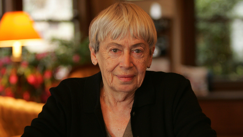 Ursula Le Guin sitting