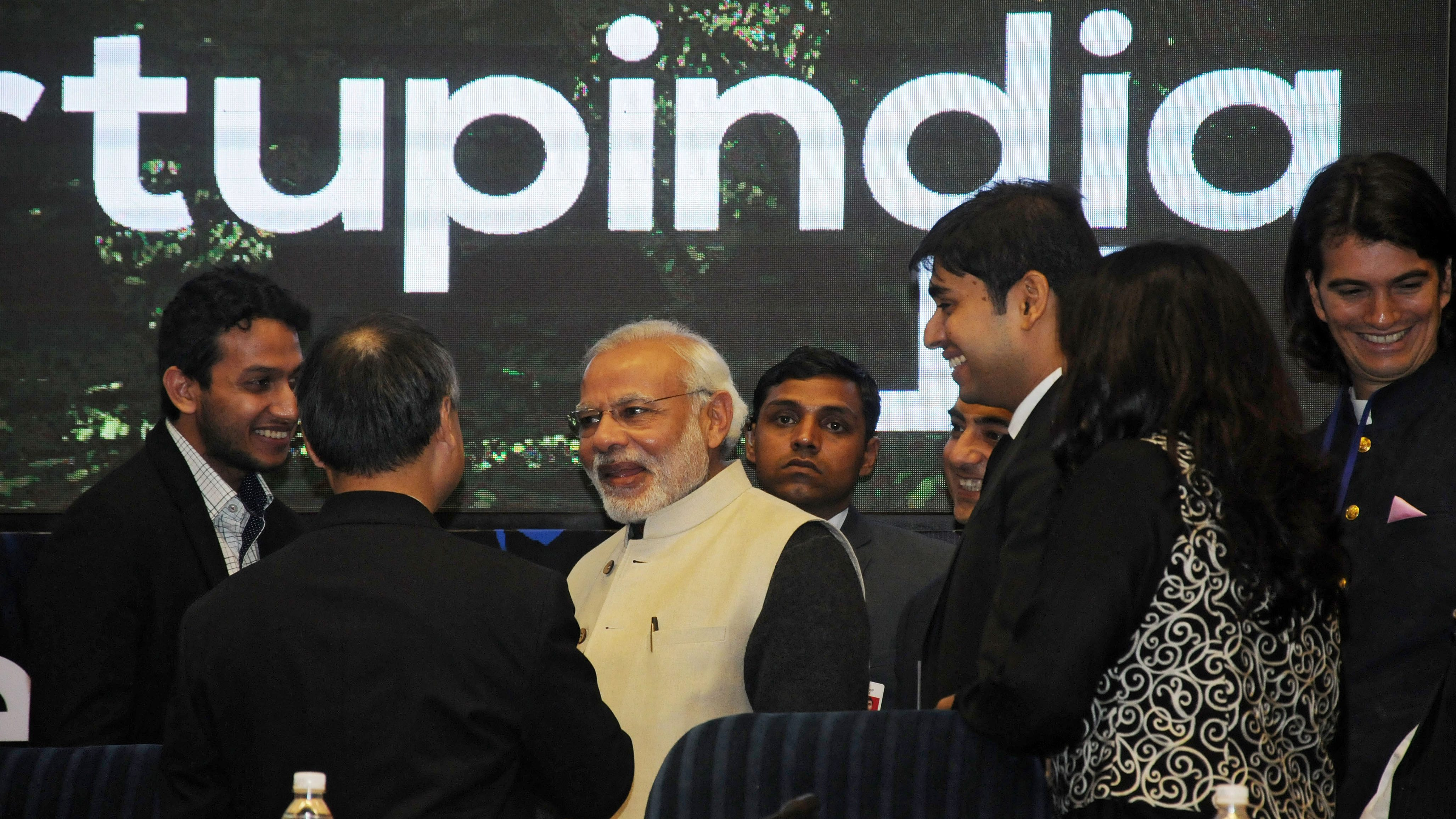 epa05105314 Indian Prime Minister, Narendra Modi (C), during 'Start Up India' event to launch the initiative and unveil the startup Action Plan by him in New Delhi, India, 16 January 2016. Centred around the entrepreneurial spirit of India, the Start-Up India plan is expected to boost the entrepreneurship in the country. The Indian government said it will introduce friendly tax measures and easy financing for start-ups to boost entrepreneurship at the grass-root level. With 4,200 firms, India already ranks third in the world in terms of the number of start-ups, behind the United States and Britain.  EPA/STR
