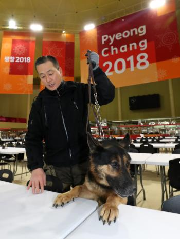 An explosives-sniffing dog, led by a police officer, searches the athletes' village in the town of, northeastern South Korea, 22 January 2018, ahead of next month's PyeongChang Winter Olympics.