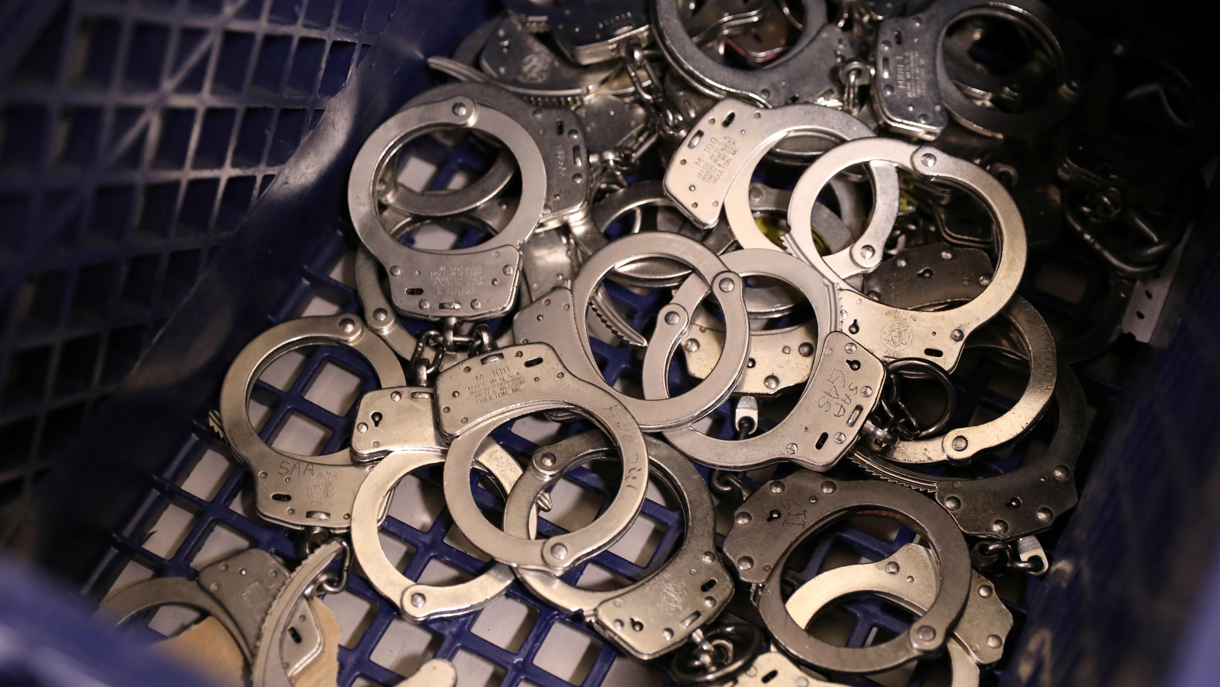 Handcuffs in a basket.