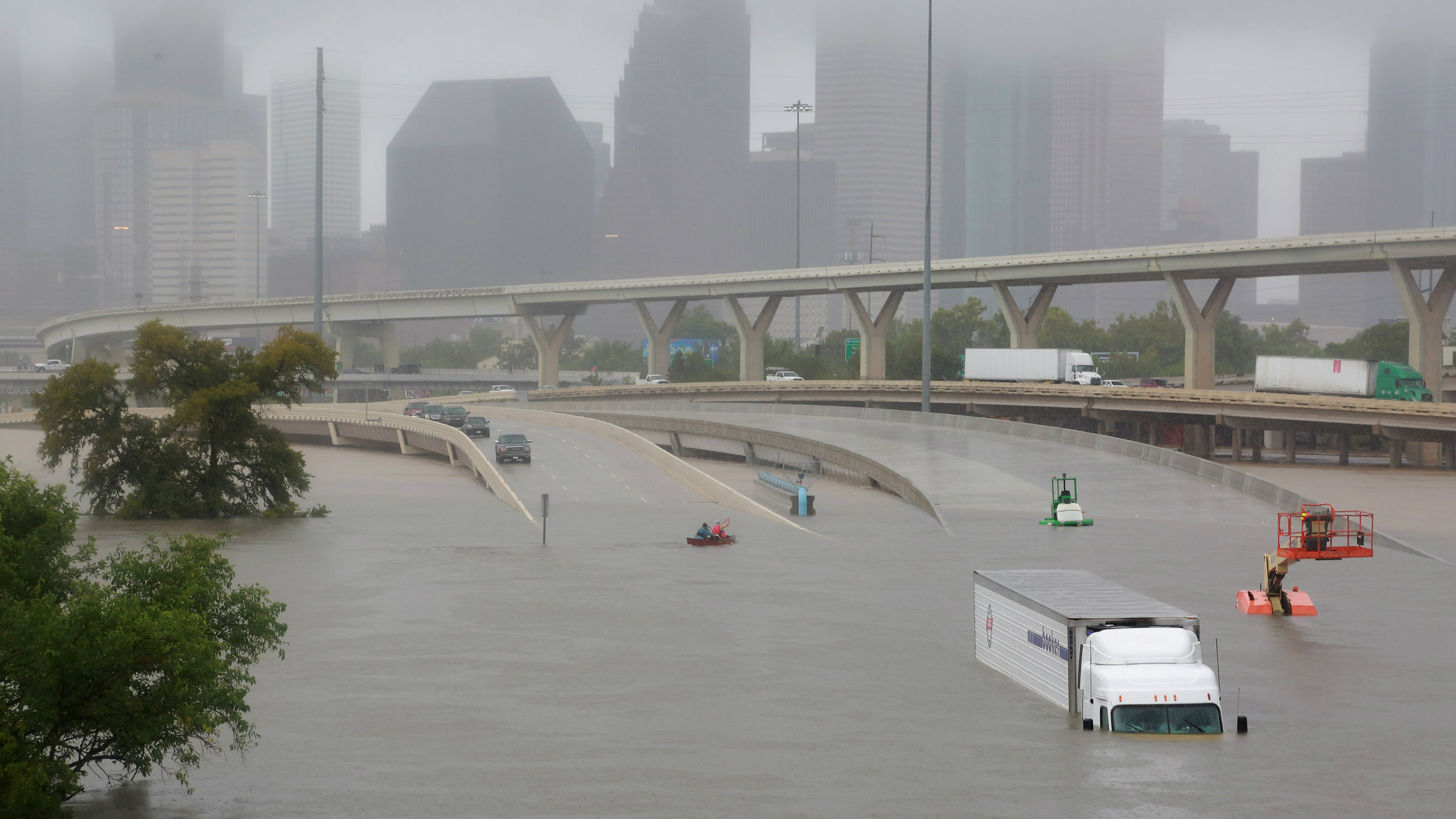 Interstate highway 45 is submerged from the effects of Hurricane Harvey in Texas