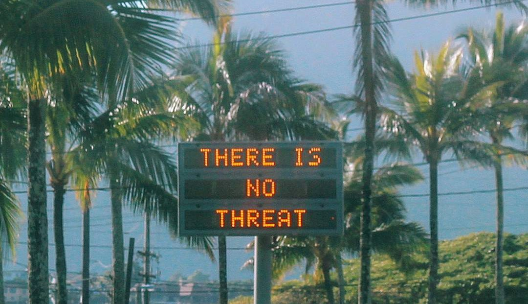 """An electronic sign reads """"There is no threat"""" in Oahu, Hawaii, U.S., after a false emergency alert that said a ballistic missile was headed for Hawaii, in this January 13, 2018 photo obtained from social media."""