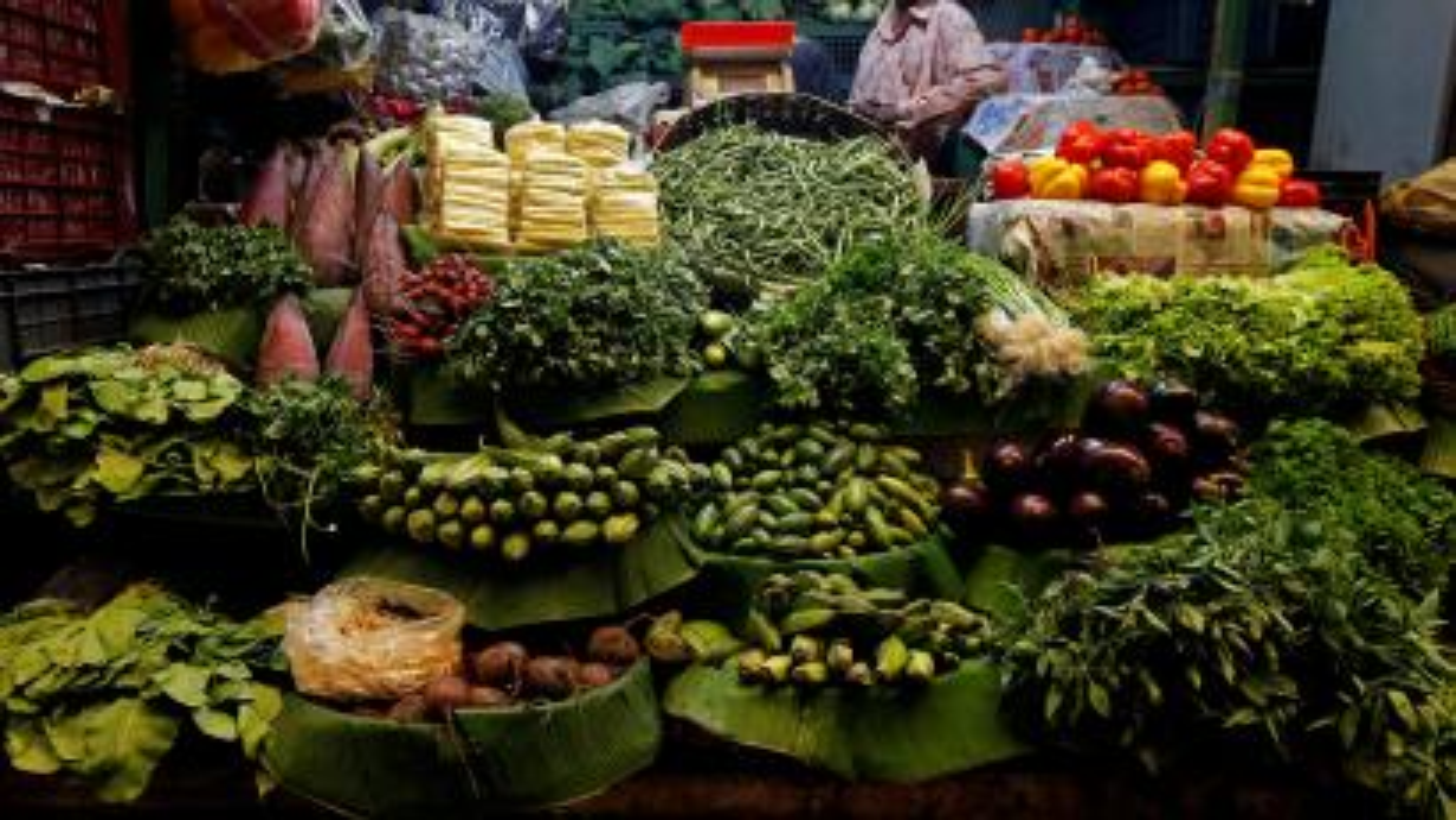 Vegetables on display at a market.