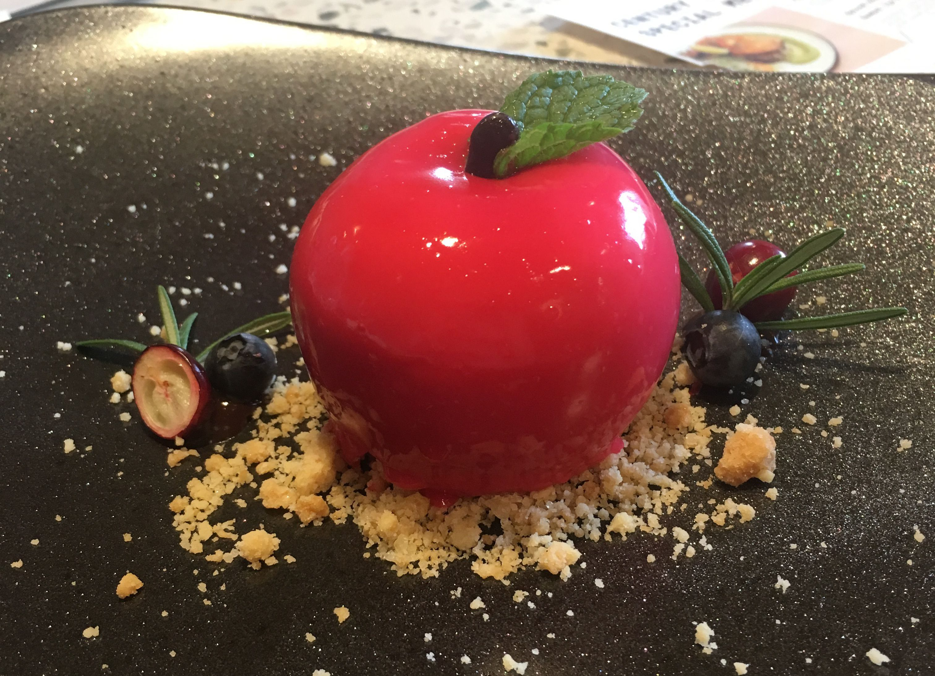 """French mousse cake at Gallery & Co, at Singapore's National Gallery, inspired by the current exhibition """"Colors of Impressionism: Masterpieces from the Musée d'Orsay."""""""