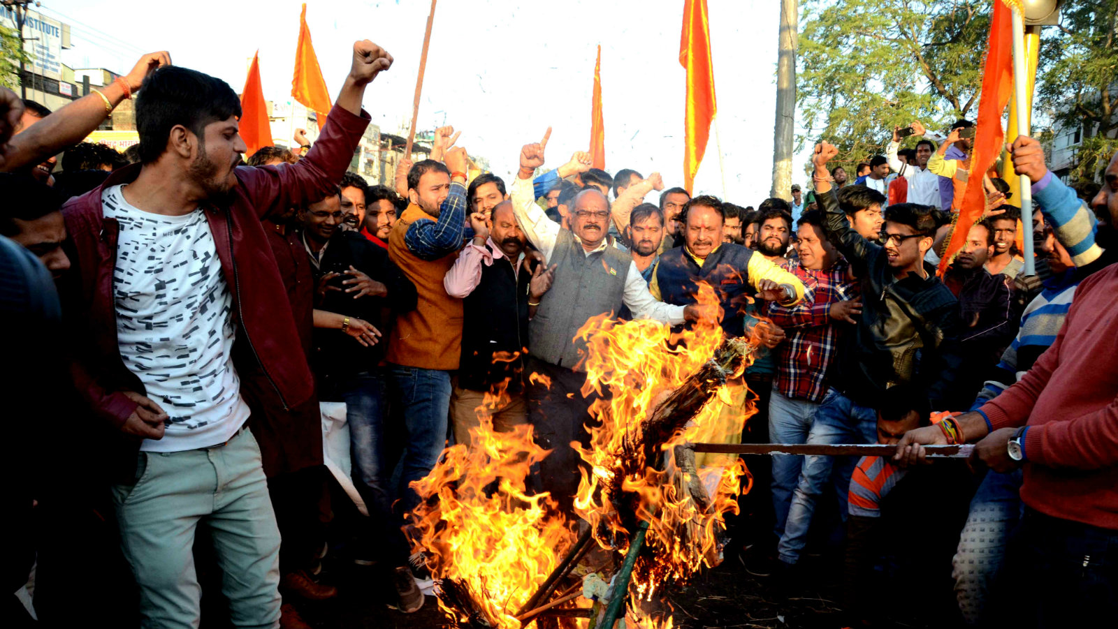 Indian Rajput community members protest and burn the effigy of Sanjay Leela Bhansali, the director of Bollywood movie 'Padmaavat', against the film's release, in Bhopal, India, 24 January 2018. According to media reports, the movie featuring Indian actress Deepika Padukone, Shahid Kapoor, and Ranveer Singh, is set for release on 25 January 2018, after the Central Board of Film Certification (CBFC) clearance. The movie is facing protest by Rajput groups in several states of India, with protesters claiming historical inaccuracies and called for the film to be banned. The period epic tells the story of a 14th century Hindu queen who belonged to the Rajput caste and Muslim ruler Alauddin Khilji. Protestors held various placards some of them read 'India will not tolerate insult of an Indian woman', 'In honor Rani Padmavati Jawar (self immolation), Integrated Nationalist Party in the field', and 'Fight is not of caste and religion, its for the virtuous women' in Hindi.