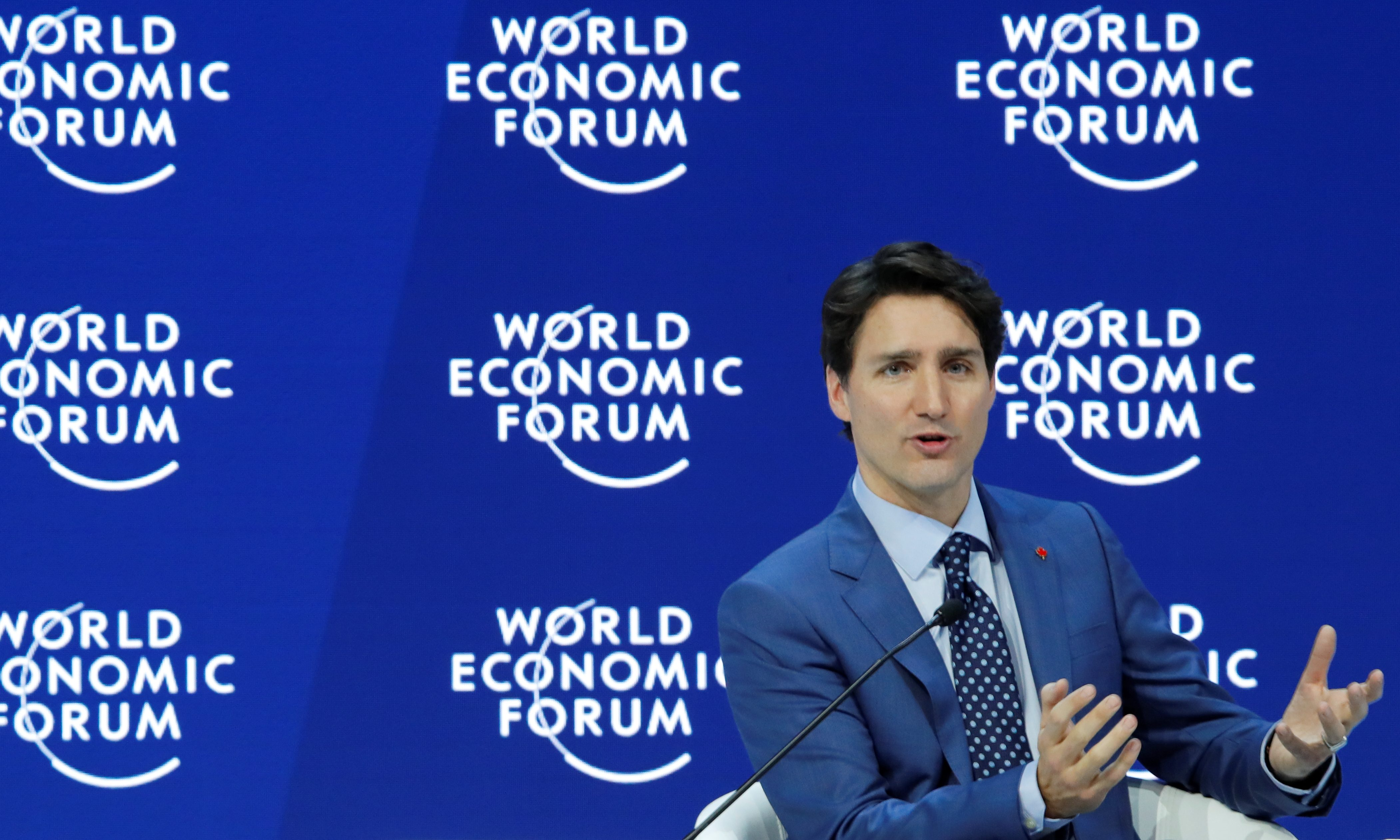 Canada's Prime Minister Justin Trudeau speaks during the World Economic Forum (WEF) annual meeting in Davos, Switzerland January 23, 2018 REUTERS/Denis Balibouse