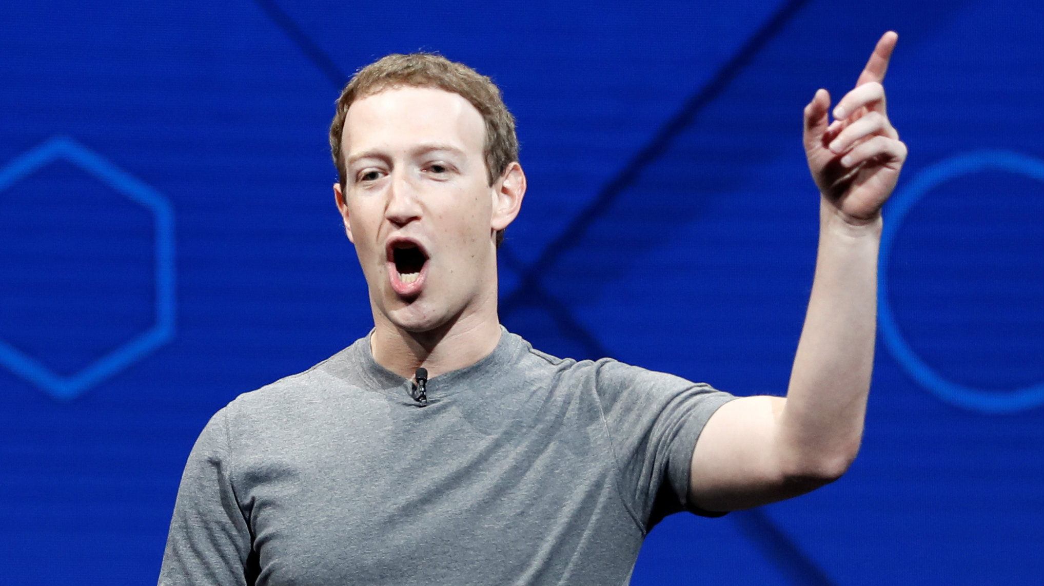Facebook Founder and CEO Mark Zuckerberg speaks on stage during the annual Facebook F8 developers conference in San Jose, California