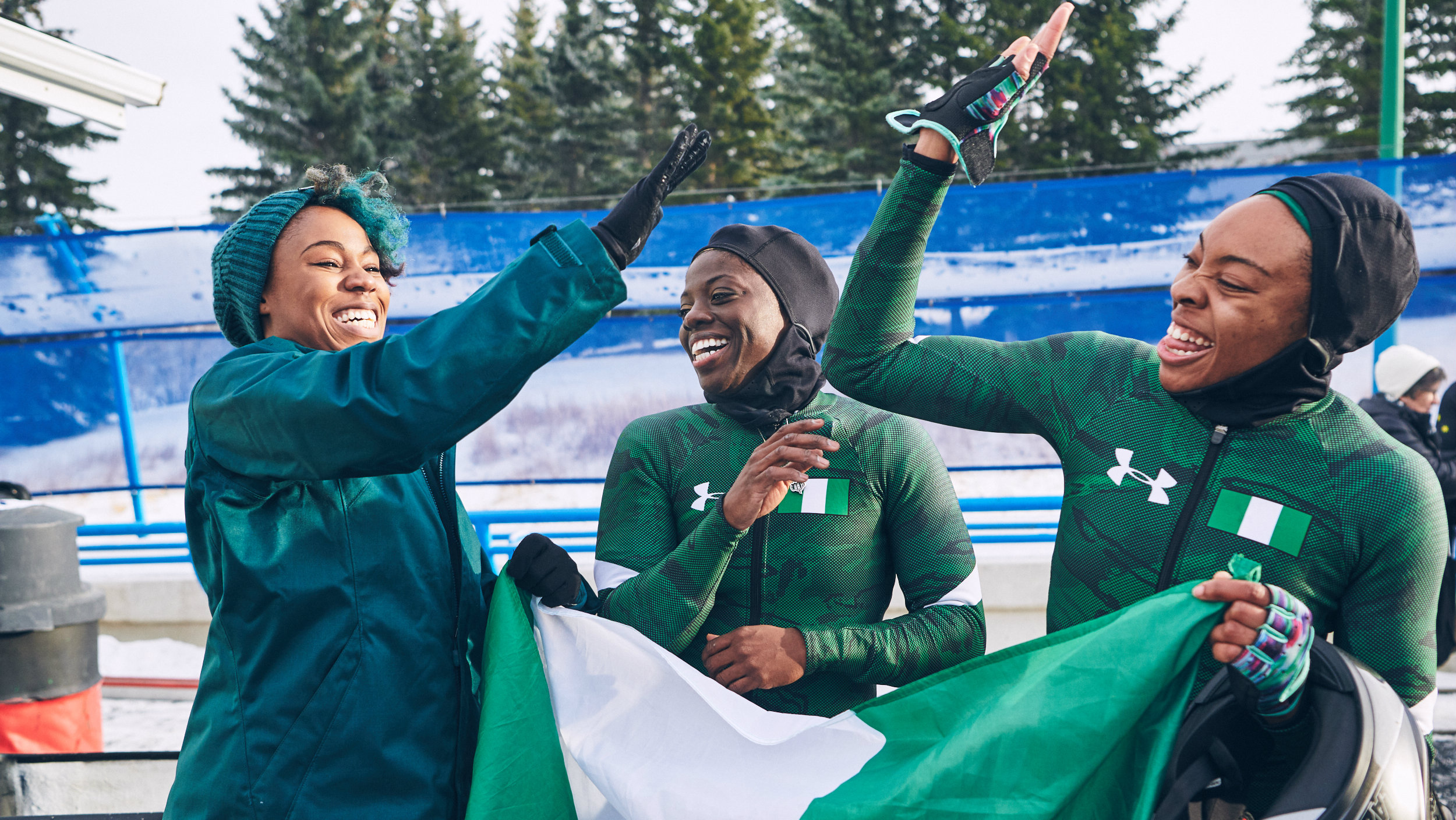 Nigeria's bobsled team comprising of Seun Adigun, the team driver and leader, Akuoma Omeoga and Ngozi Onwumere