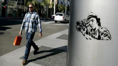 Shopper walks on Rodeo Drive in Beverly Hills, California
