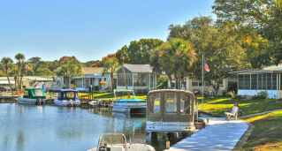 Manufactured home community on a canal