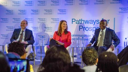 Pathways for Prosperity commissioners Melinda Gates (centre), Strive Masiyiwa (right) and Prof. Stefan Deacon, Blavatnik School of Government during the official launch of the Pathways for Prosperity Commission at the iHub in Nairobi, Kenya on January 25, 2018. Pathways for Prosperity is a new Commission on Technology and Inclusive Development. Pathways for Prosperity Commissioners include Melinda Gates, Sri Mulyani Indrawati, Minister of Finance, Indonesia, Prof. Benno Ndulu, Blavatnik School of Government, Shivani siroya, Founder, Tala Mobile, Kamal Bhattacharya, CEO, iHub, Nadiem Anwar Makarim, Founder and CEO, Go-JEK.