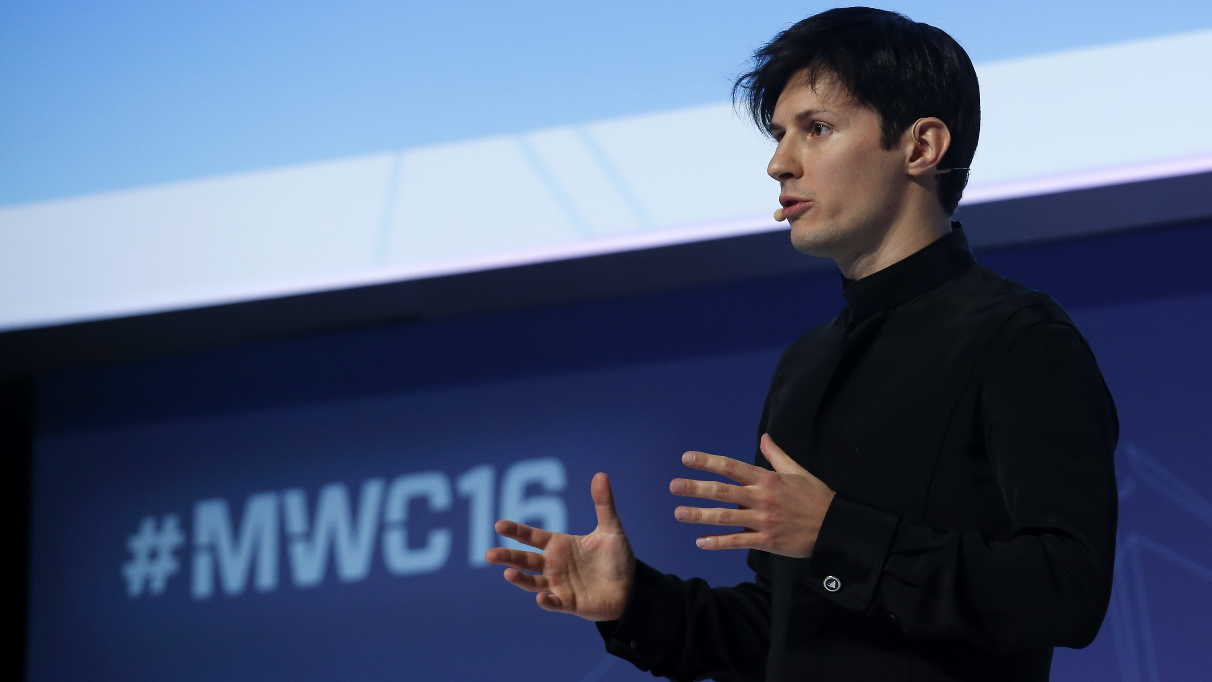 Founder and CEO of Telegram Pavel Durov delivers a keynote speech during the Mobile World Congress in Barcelona, Spain February 23, 2016.