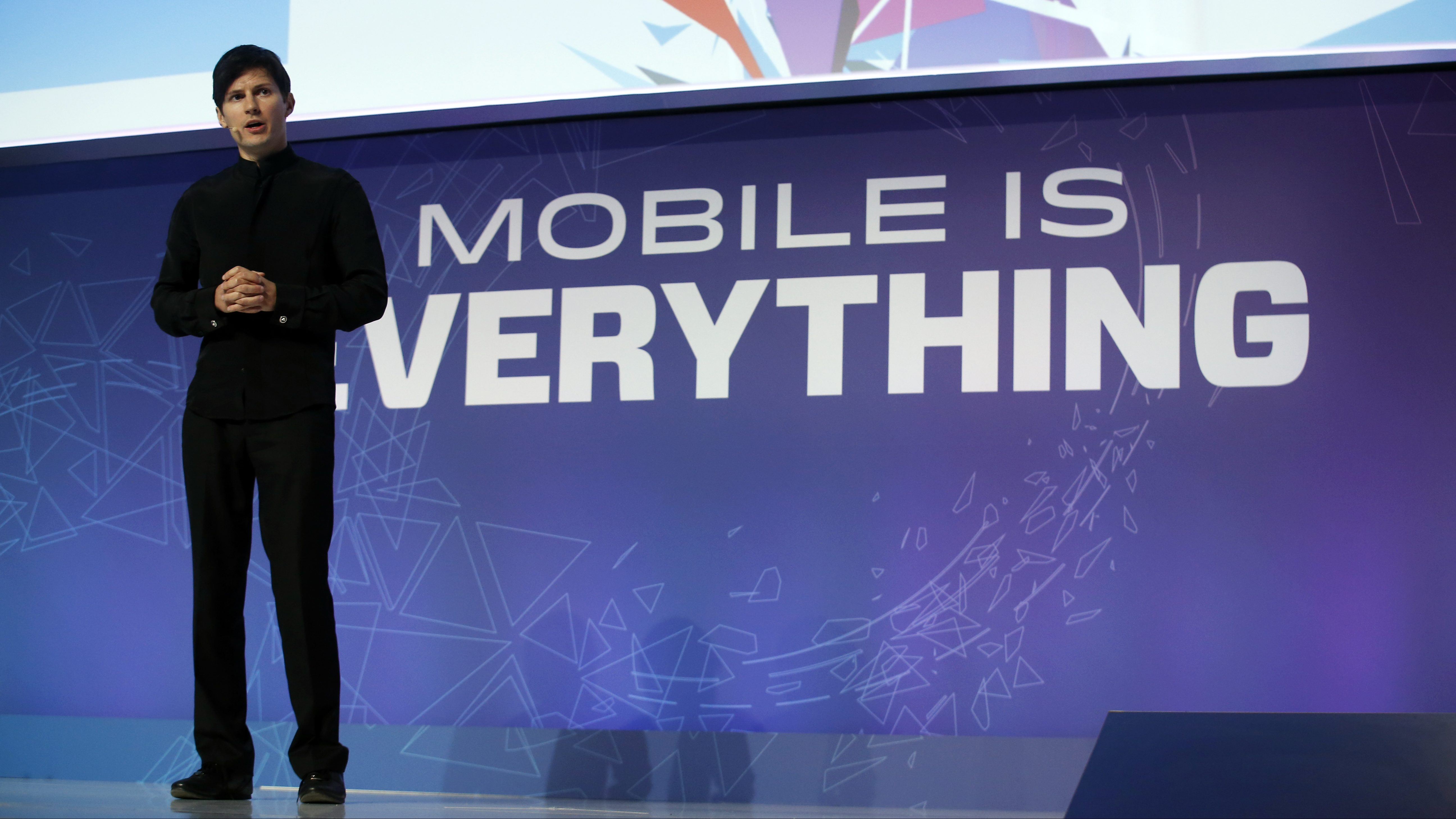 Founder and CEO of Telegram Pavel Durov delivers a keynote speech during the Mobile World Congress in Barcelona