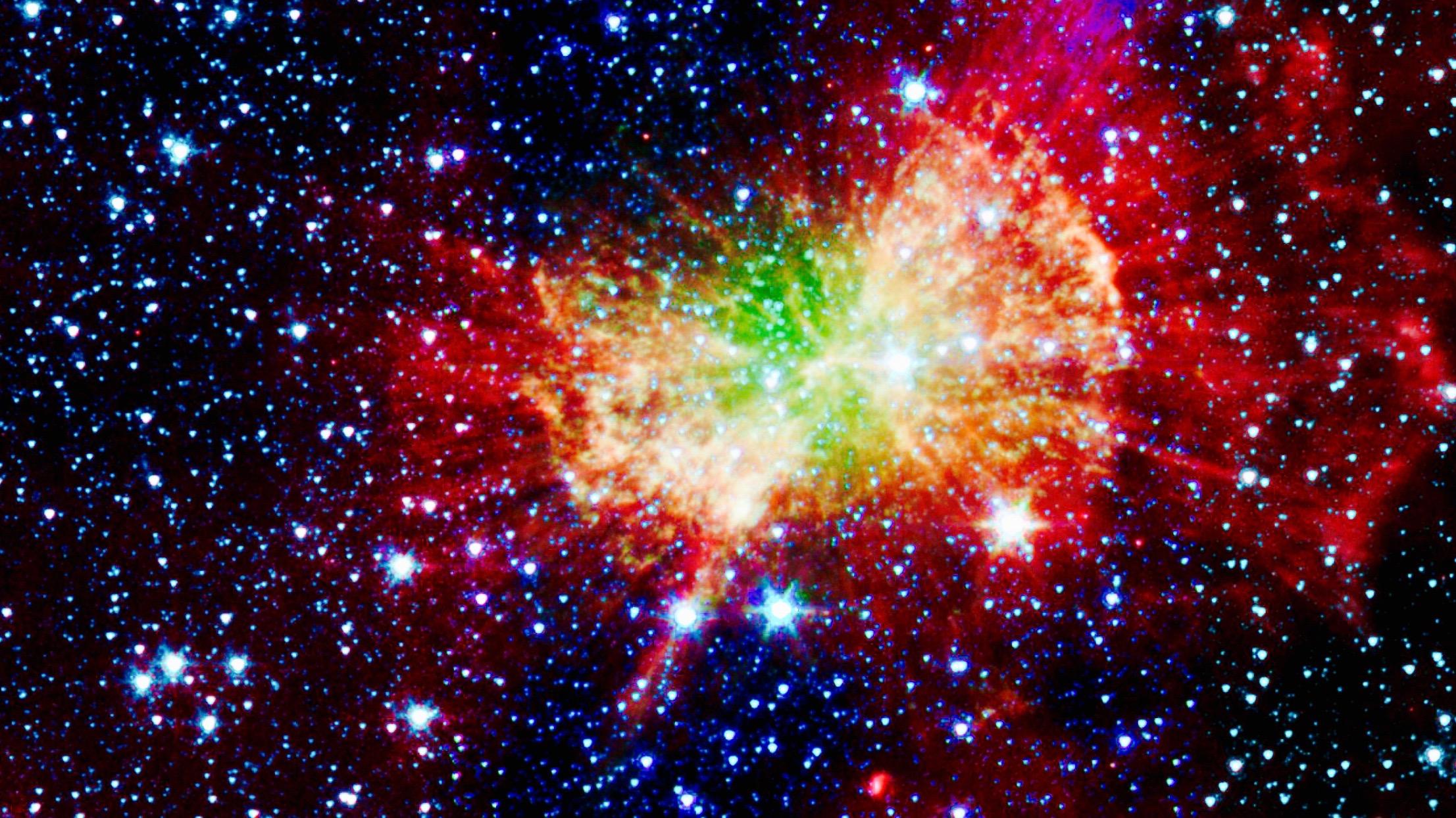"""The """"Dumbbell nebula,"""" or Messier 27, shoots infrared light."""