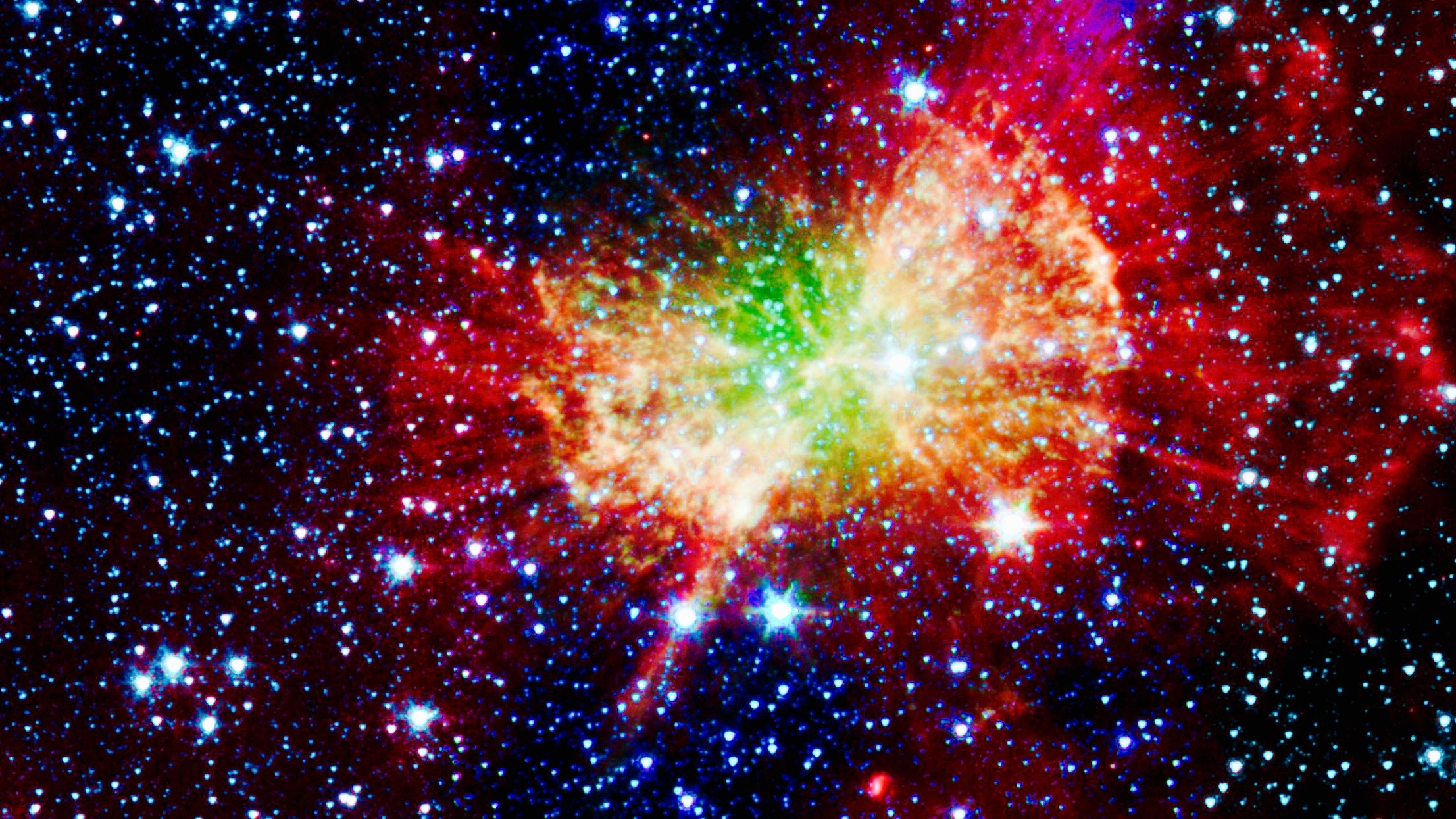 "The ""Dumbbell nebula,"" or Messier 27, shoots infrared light."