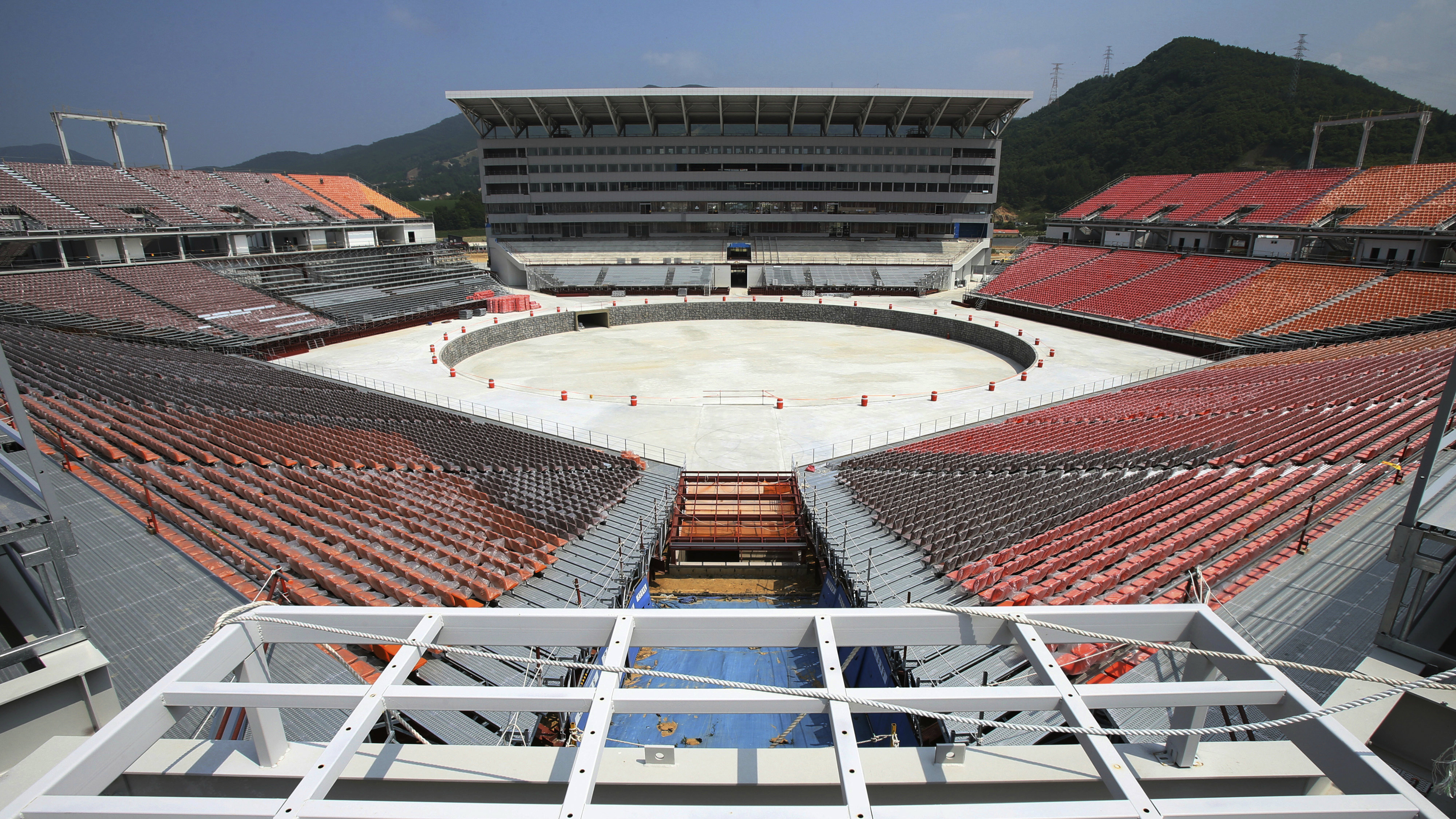 the Pyeongchang Olympic Stadium under construction in Pyeongchang, South Korea.