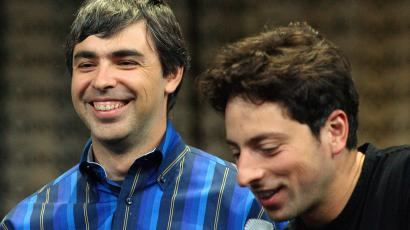 Google co-founders Larry Page (L) and Sergey Brin in 2006