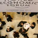 Attendees of the WEF are seen from above in the main hall of the congress centre in the Swiss Alpine resort town of Davos