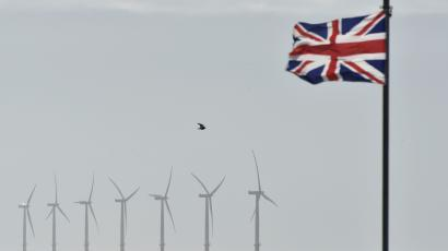 An off-shore wind farm is seen in the English Channel near Clacton-on-Sea in south east England