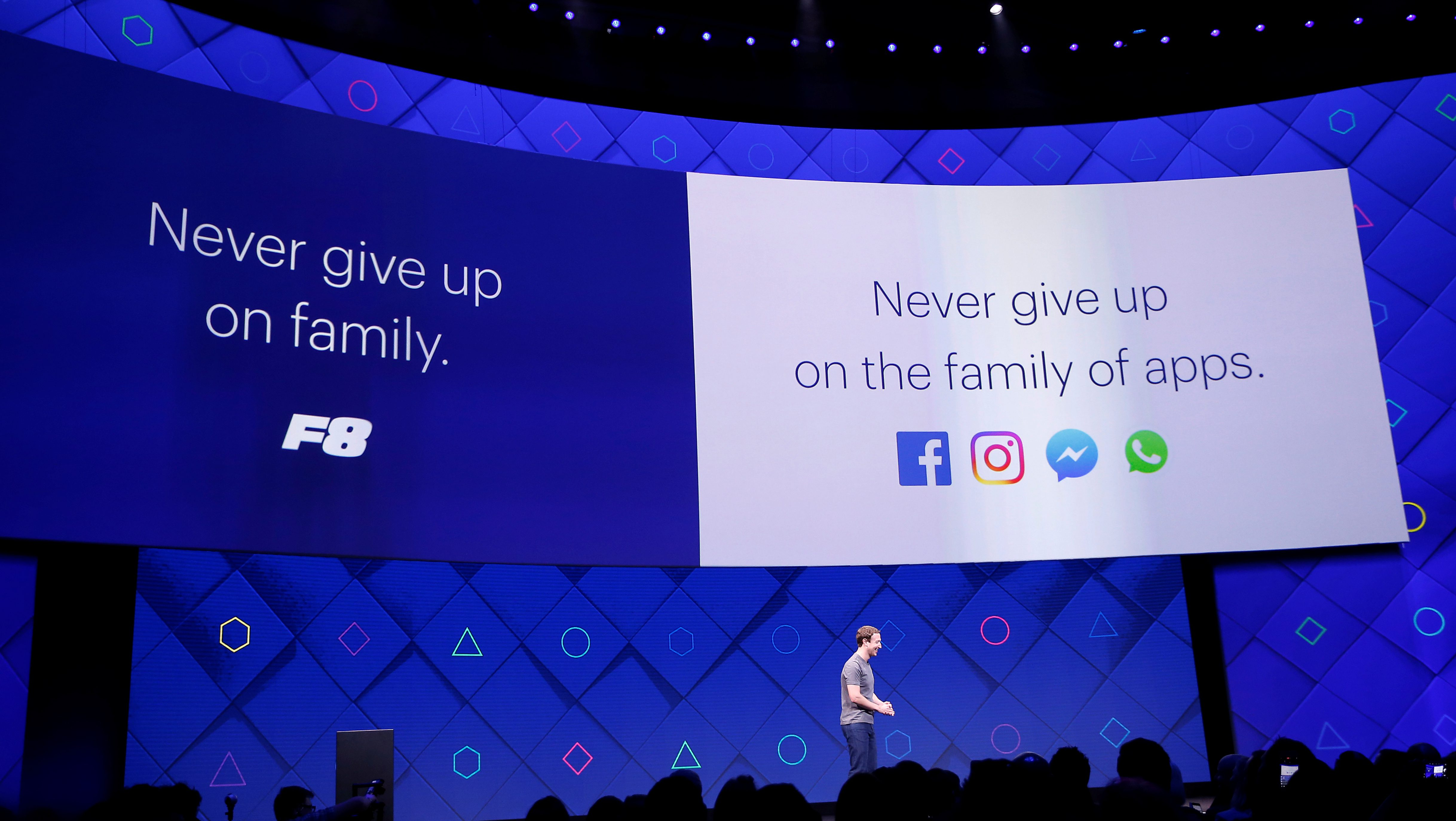 Facebook Founder and CEO Mark Zuckerberg speaks on stage during the annual Facebook F8 developers conference.