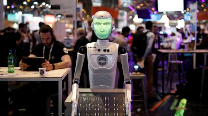A 'SociBot' humanoid robot, manufactured by Engineered Arts, is displayed at the Viva Technology conference in Paris