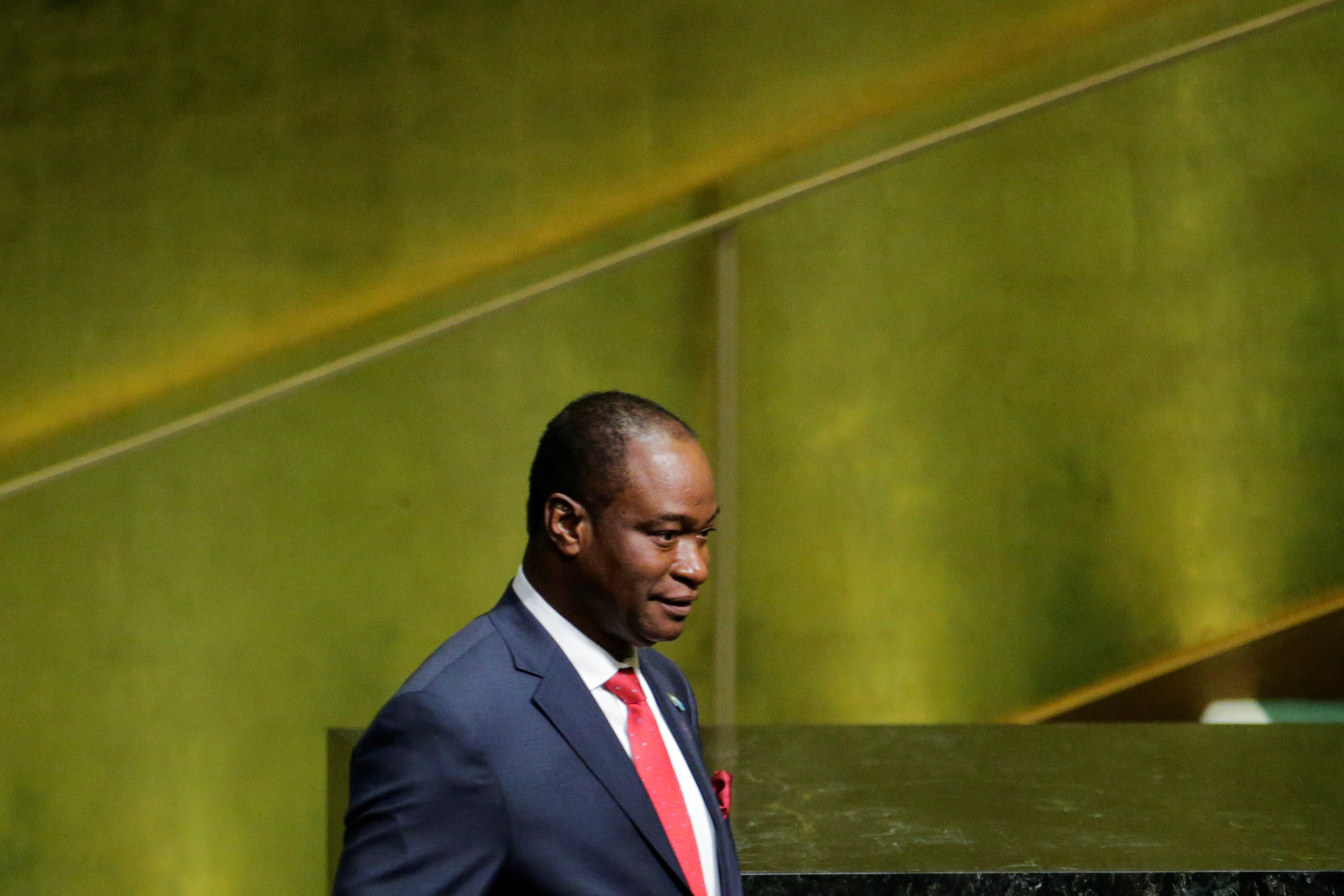 Foreign Minister of Sierra Leone, Samura Kamara, arrives to address the 72nd United Nations General Assembly at U.N. headquarters in New York, U.S., September 22, 2017.