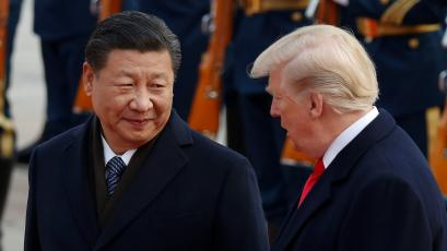 U.S. President Donald Trump takes part in a welcoming ceremony with China's President Xi Jinping at the Great Hall of the People in Beijing, China, November 9, 2017.
