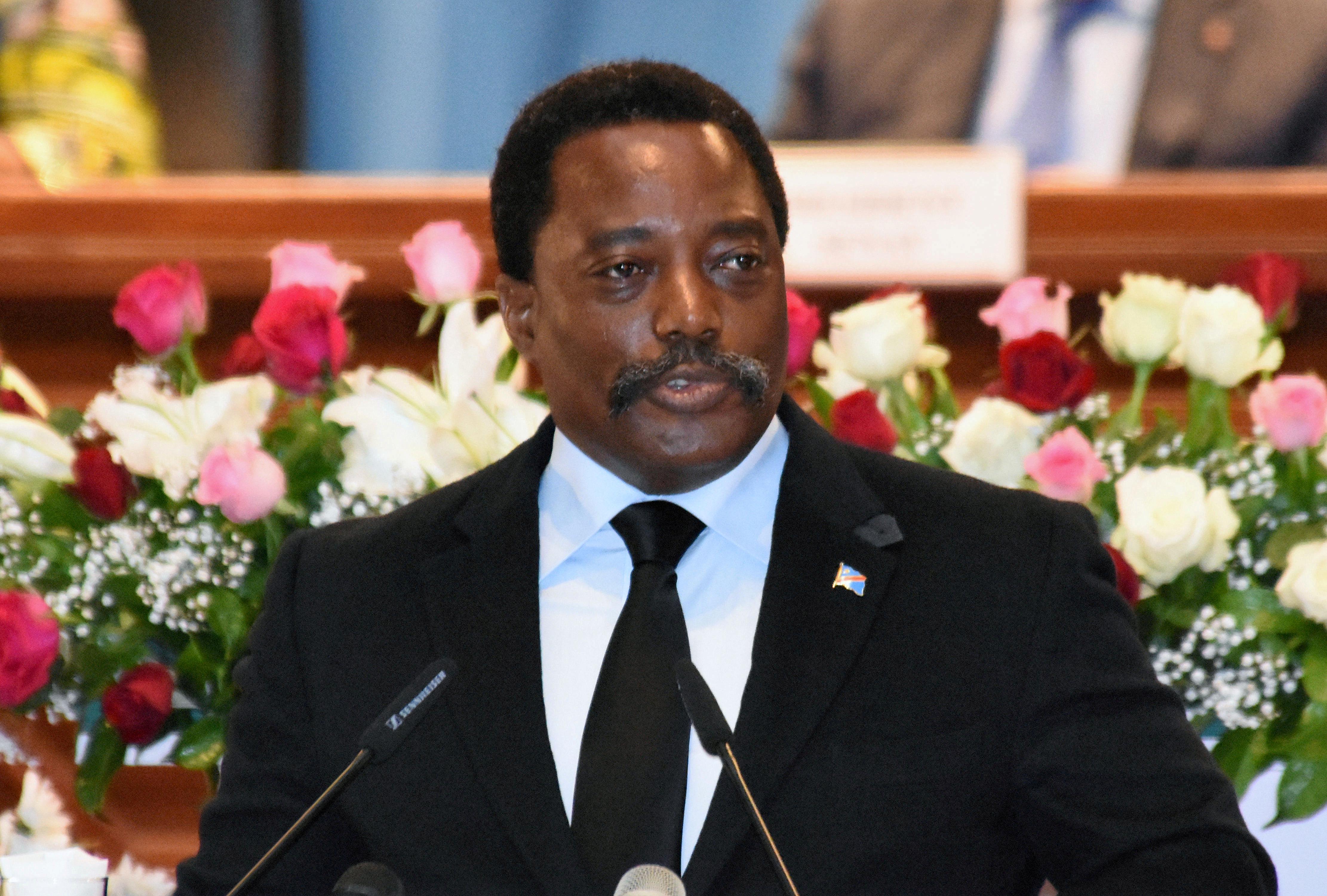 Democratic Republic of Congo's President Joseph Kabila addresses the nation at Palais du Peuple in Kinshasa, Democratic Republic of Congo April 5, 2017.