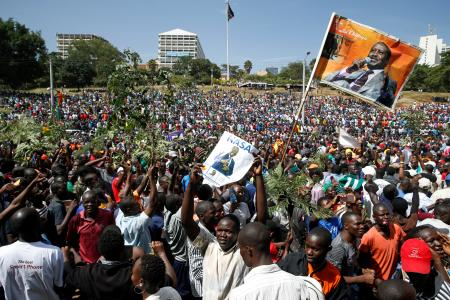 Supporters of Kenyan opposition leader Raila Odinga of the National Super Alliance (NASA) coalition gather ahead of Odinga's planned swearing-in ceremony as the President of the People's Assembly at Uhuru Park in Nairobi, Kenya January 30, 2018.