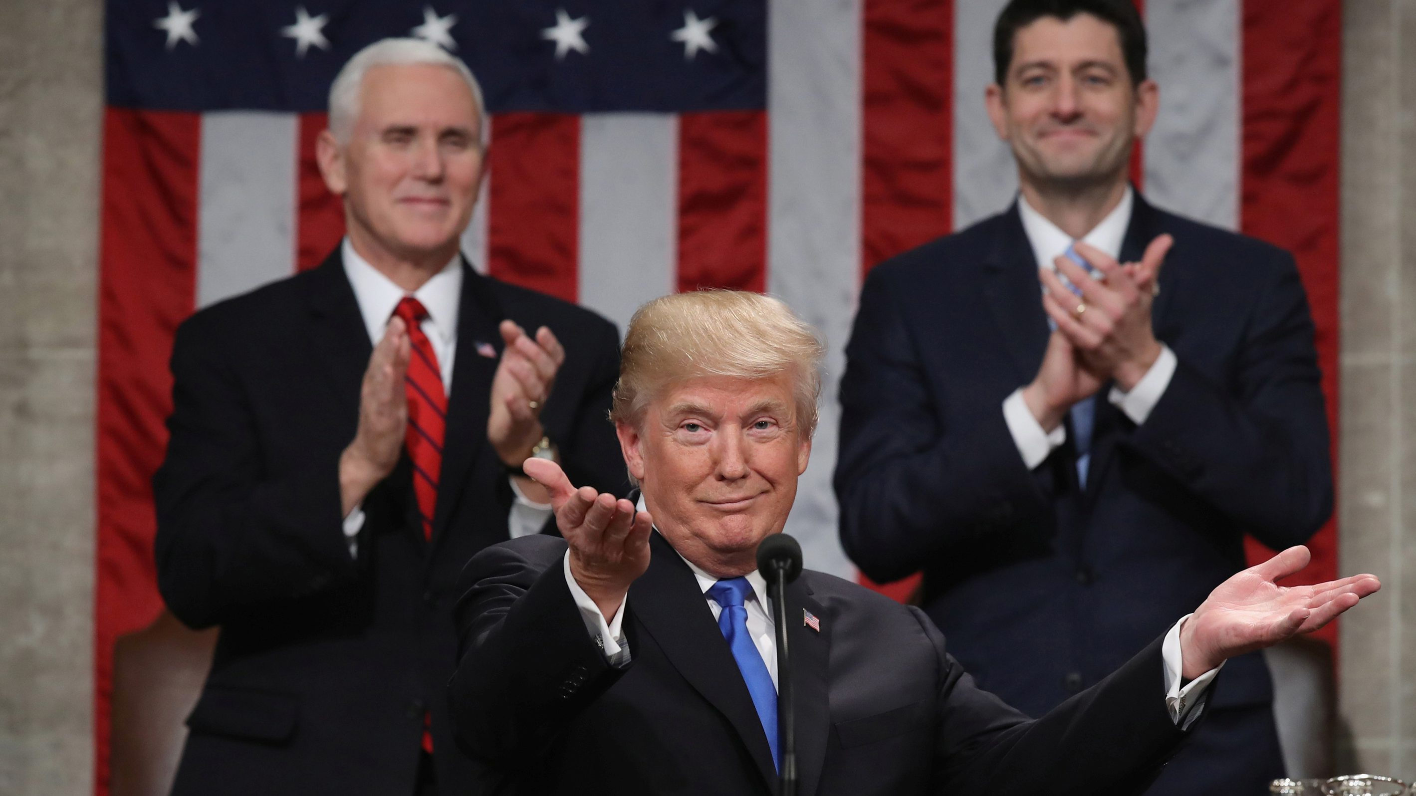 US president Trump delivers first State of the Union address to a joint session of Congress in Washington