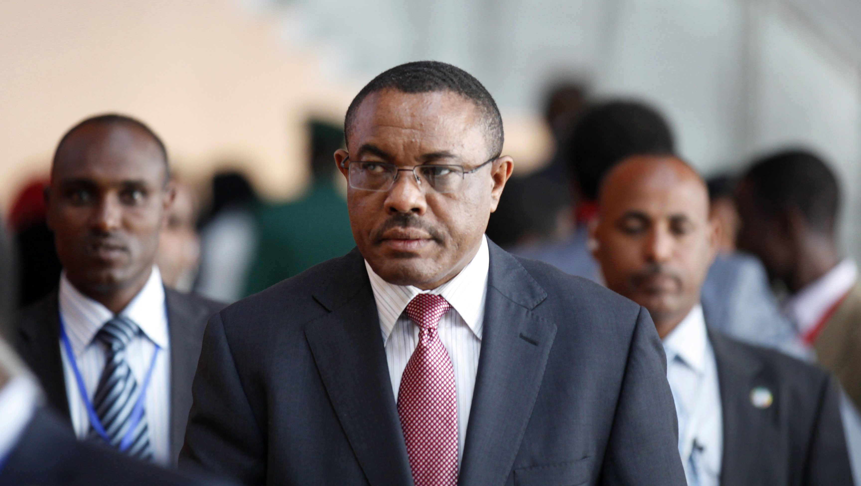 Ethiopian Prime Minister Hailemariam Desalegn arrives at the African Union Headquarters for the 21st Ordinary Session of the Assembly of Heads of States and Government in capital Addis Ababa May 26, 2013.