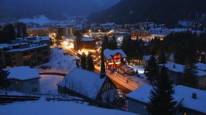 A view of Davos with the Congress Center in the early morning of the annual meeting of the World Economic Forum (WEF) 2014 in Davos January 24, 2014. The annual Davos gathering, which draws thousands of the world's most powerful people, will this year welcome more than 40 heads of state and government to focus on questions about the world's future, organisers said on Wednesday. This year's event will run from January 22 to 25.