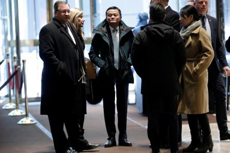 Jack Ma arrives for a meeting with Donald Trump at Trump Tower in New York in January 2017.
