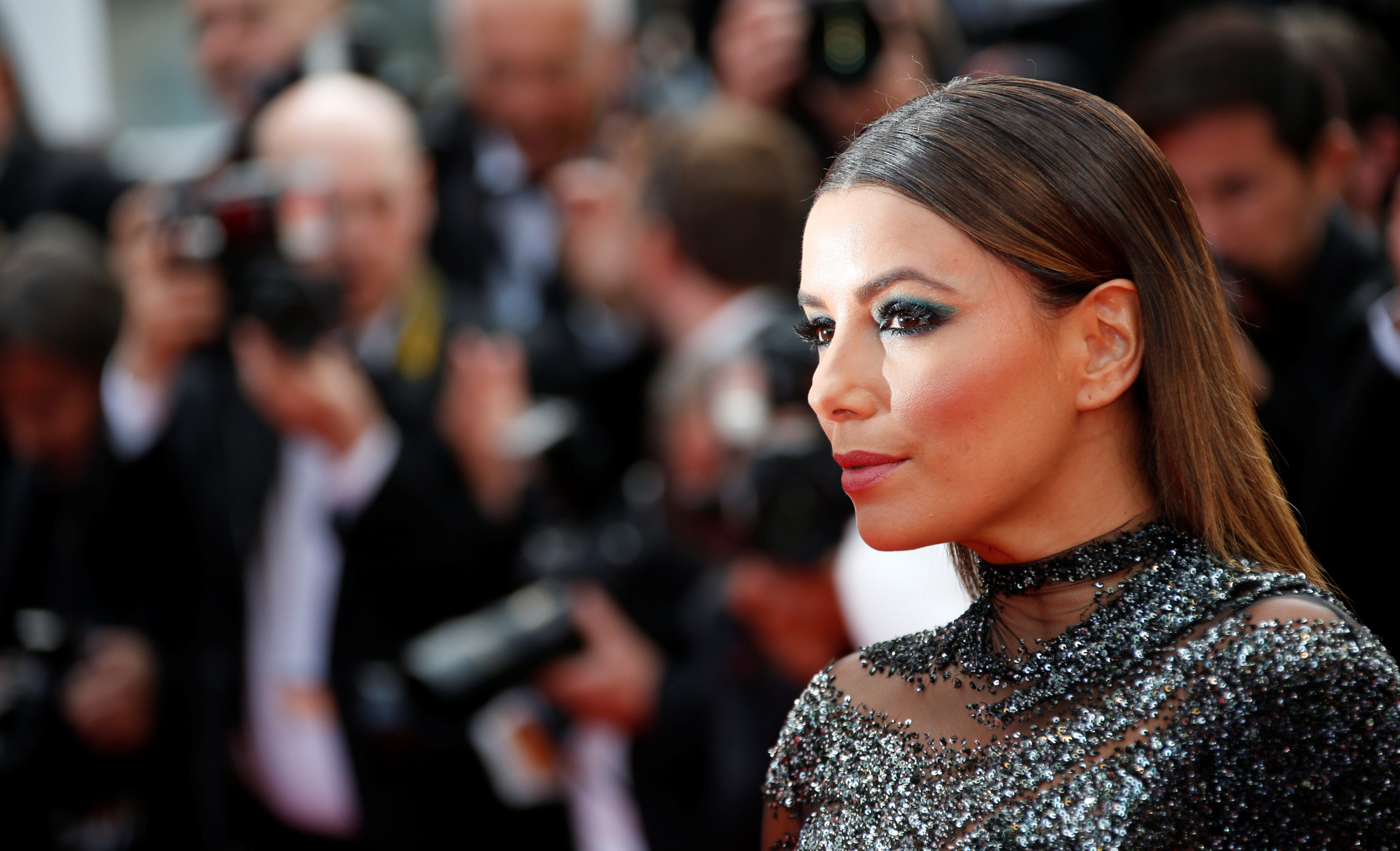 70th Cannes Film Festival – Event for the 70th Anniversary of the festival – Red Carpet Arrivals - Cannes, France. 23/05/2017. Model Eva Longoria poses. REUTERS/Jean-Paul Pelissier - RC122B72DE90