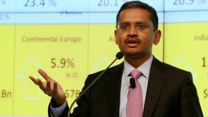 Tata Consultancy Services (TCS) Chief Executive Officer Rajesh Gopinathan speaks during a news conference announcing the company's quarterly results in Mumbai