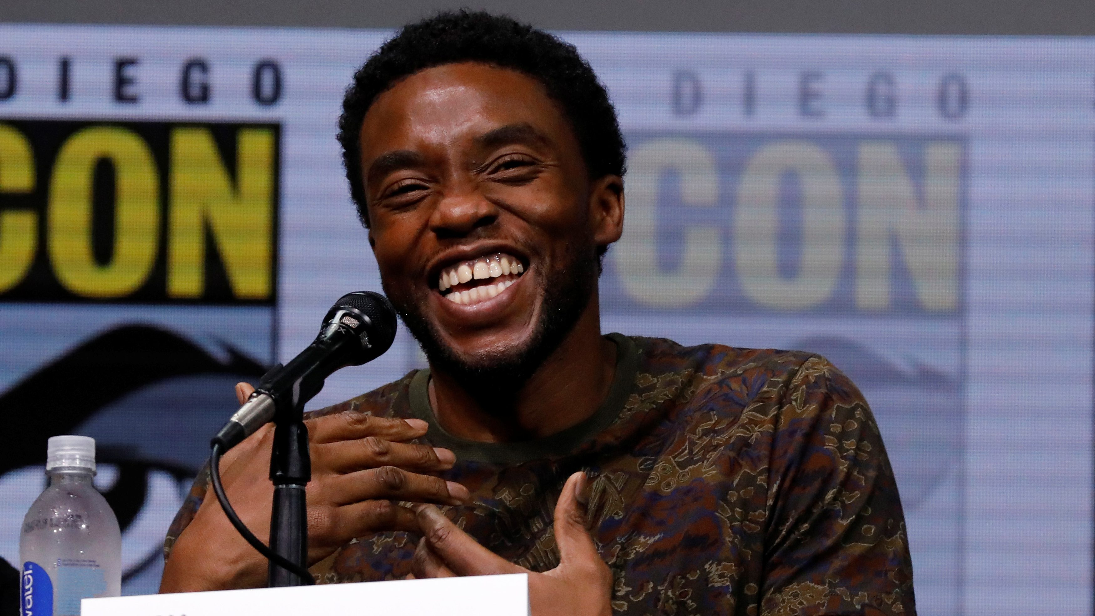 "Cast member Chadwick Boseman at a panel for ""Black Panther"" during the 2017 Comic-Con International Convention in San Diego, California, U.S., July 22, 2017.   REUTERS/Mario Anzuoni - RC1C7BD7C630"