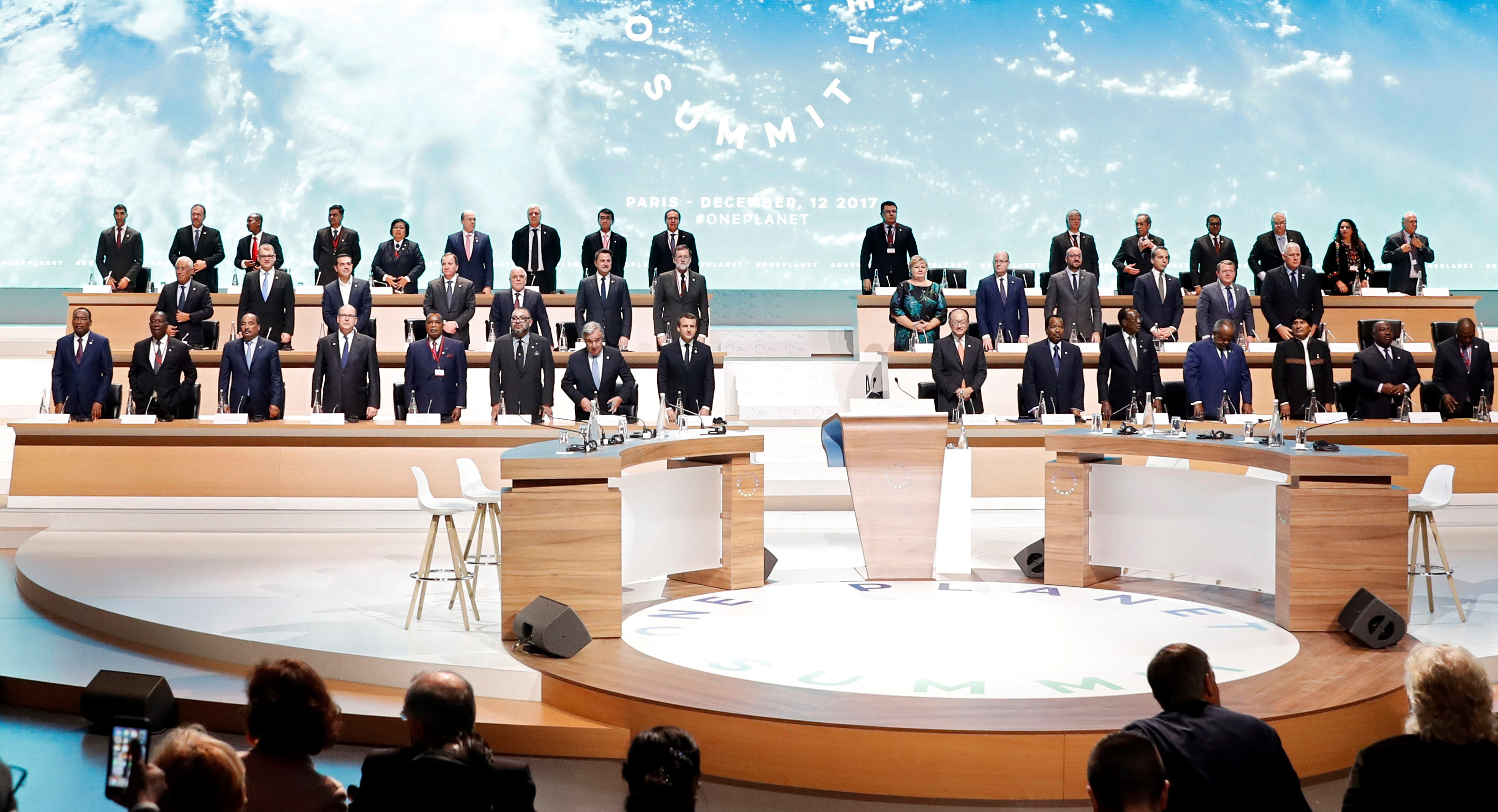 World leaders and heads of state attend the Plenary Session of the One Planet Summit at the Seine Musicale event site on the Ile Seguin in Boulogne-Billancourt, near Paris, France, December 12, 2017.  REUTERS/Etienne Laurent/Pool - RC1C7AE7F350