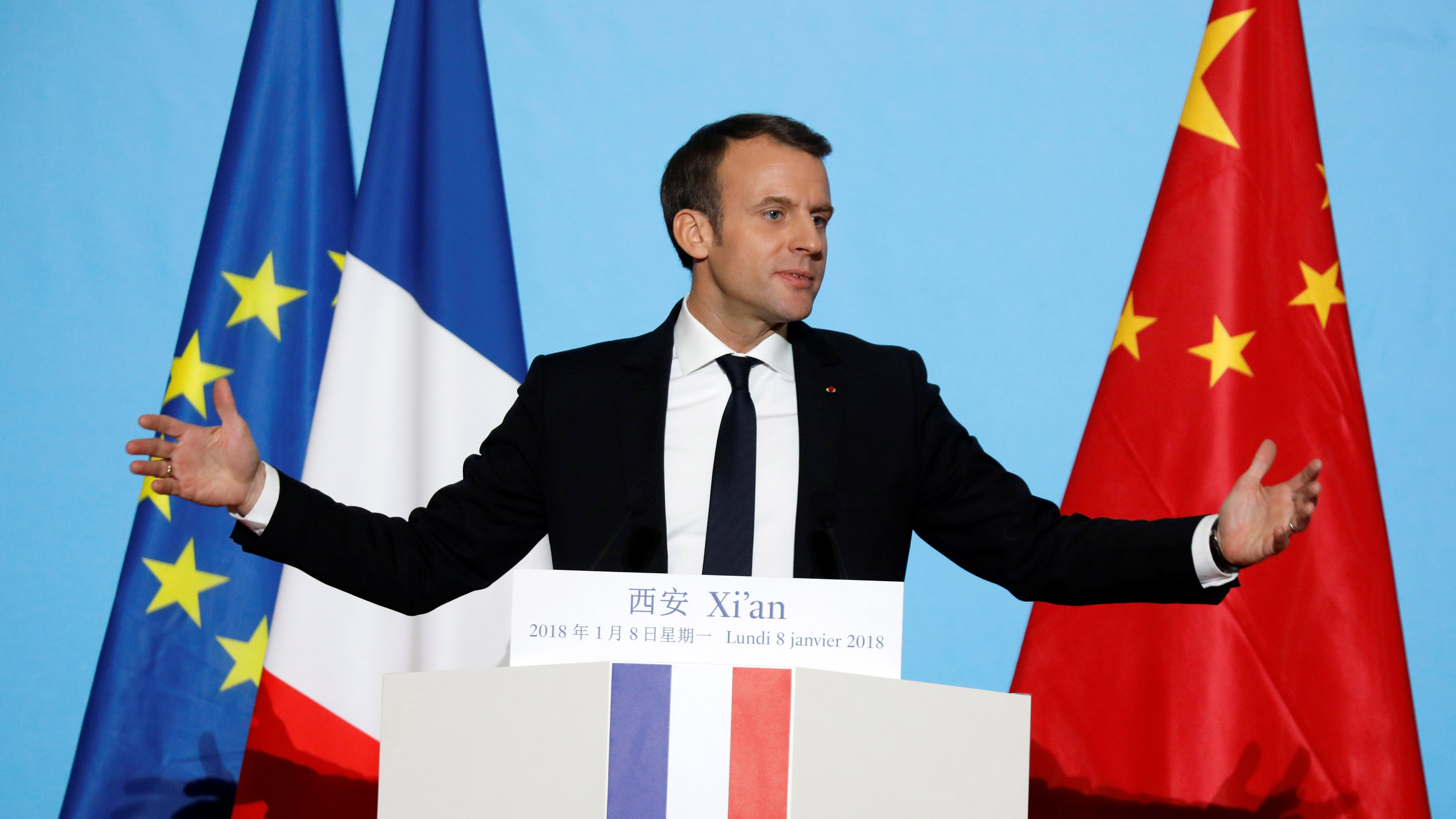 French President Emmanuel Macron delivers his speech at the Daming Palace in Xian, Shaanxi province, China, January 8, 2018.