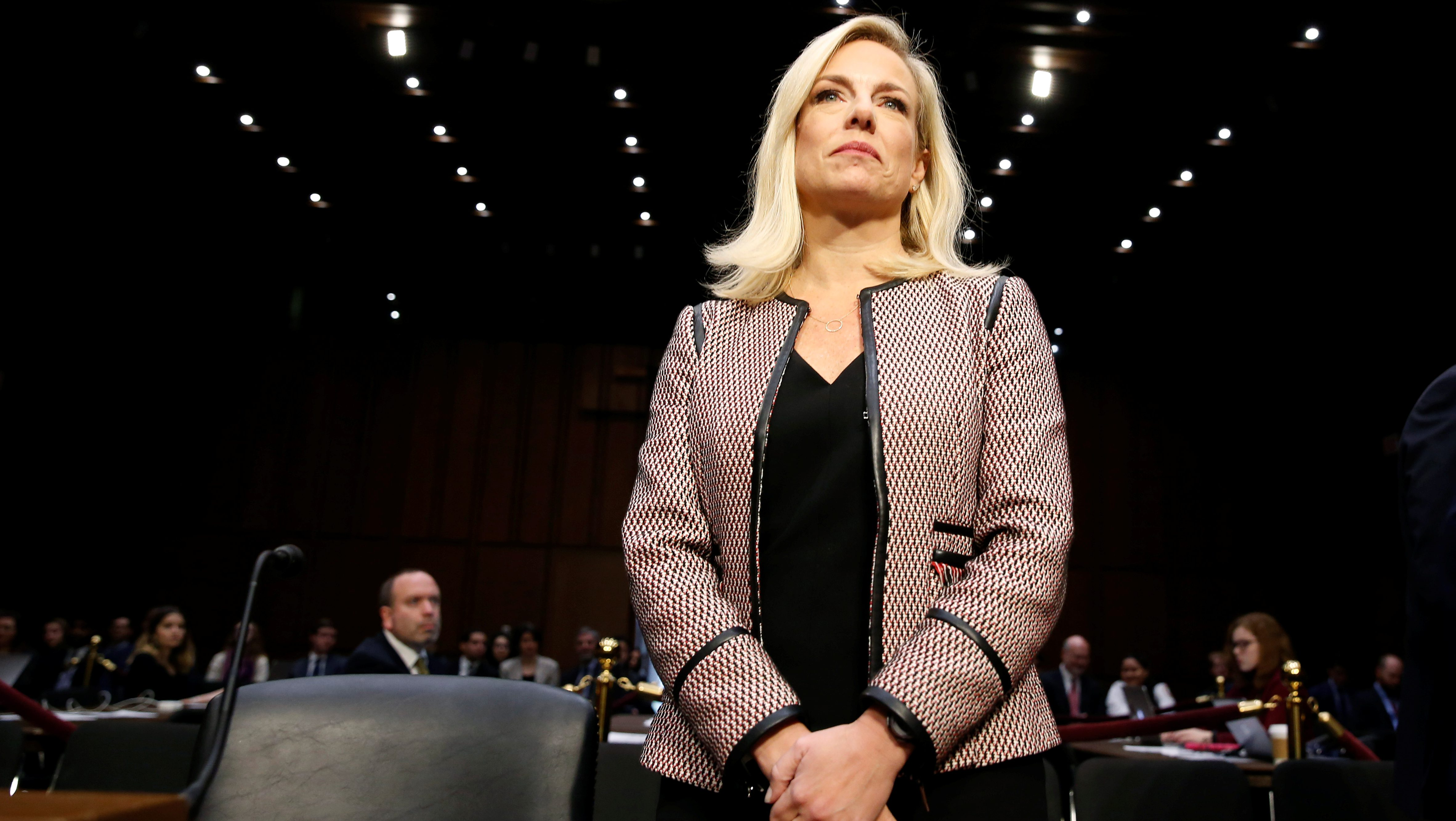 """U.S. Secretary of Homeland Security Kirstjen Nielsen testifies to the Senate Judiciary Committee on """"Oversight of the U.S. Department of Homeland Security"""" on Capitol Hill in Washington, U.S., January 16, 2018.      REUTERS/Joshua Roberts - RC12C5CCC950"""