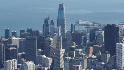 The San Francisco skyline with the Salesforce Tower looming over it.