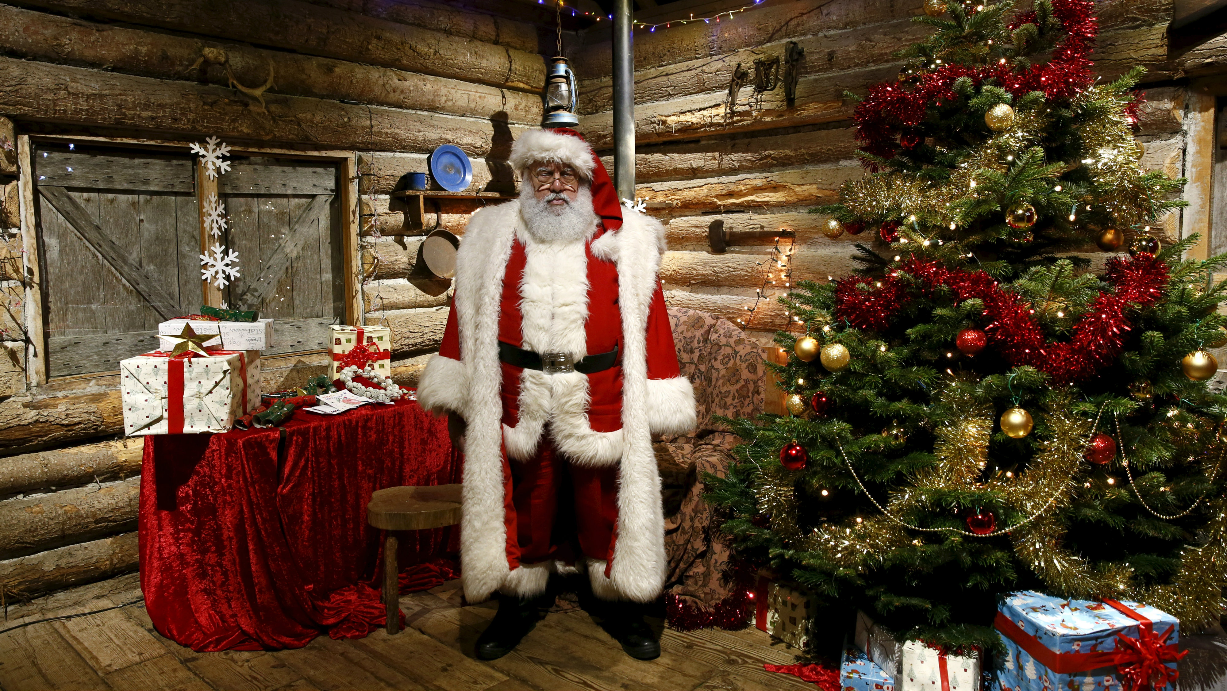 Actor John Field, dressed as Santa Claus, poses for a photograph at a Christmas grotto at the Wetland Centre in west London, Britain, December 5, 2015.
