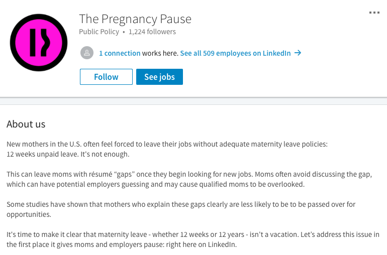 Great The Pregnancy Pause On LinkedIn.
