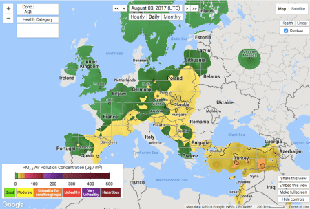 A snapshot of particulate pollution across Europe on Aug. 3, 2017.