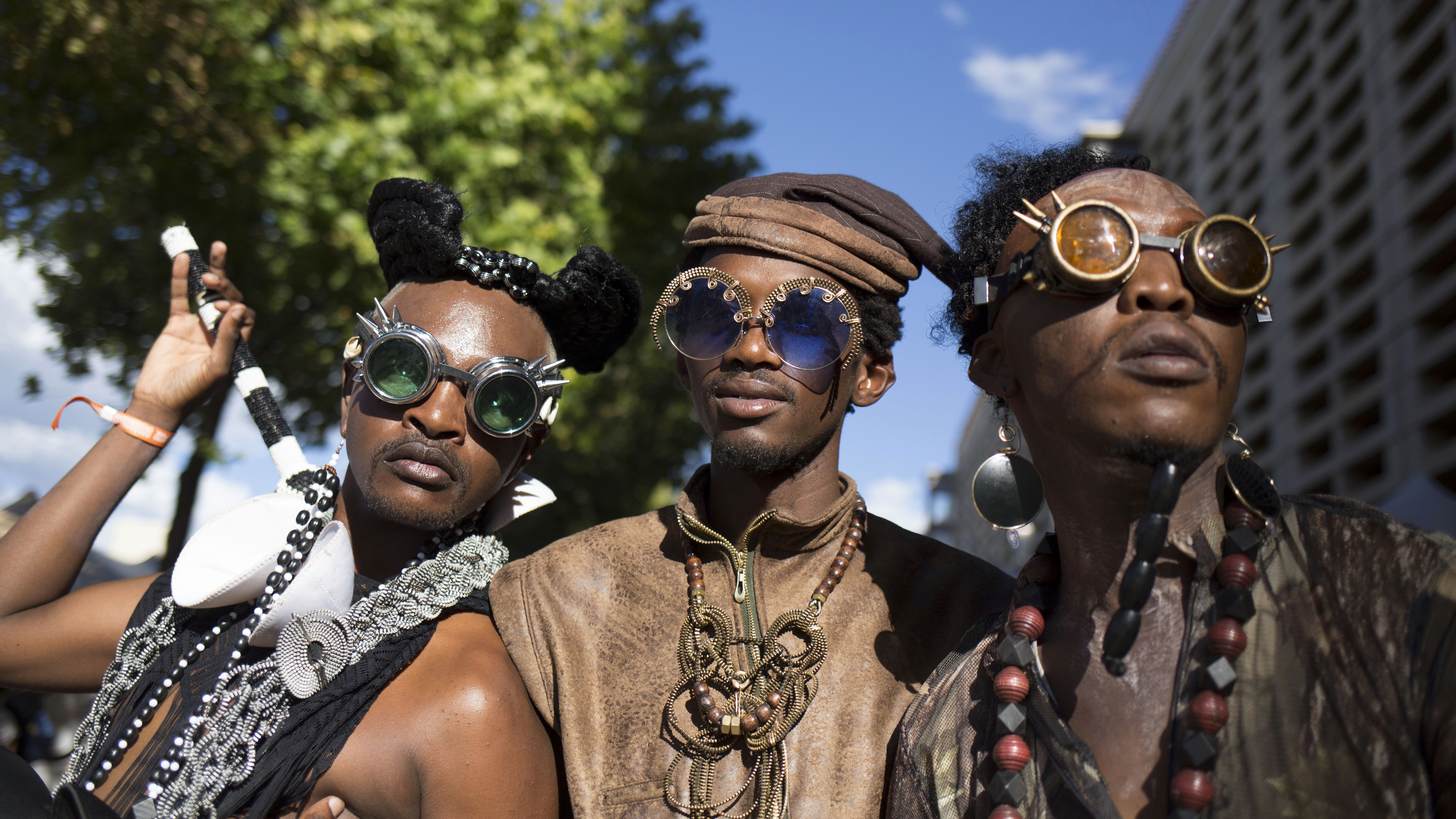epa06411611 Loebogang Molefe (L), Jack Radebe (C) and Obza Jobesei (R) pose for a portrait during the AFROPUNK Festival held at Constitution Hill in Johannesburg, South Africa, 31 December 2017. The festival in its 14th year stops for the first time in Johannesburg after playing in cities such as Atlanta, New York, Paris and London. The festival is renowned the world over and features creativity and style with top live acts mixed with civic minded aspects.  EPA-EFE/CORNELL TUKIRI