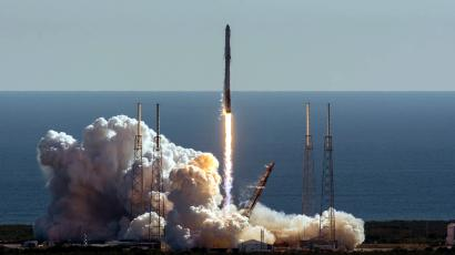 SpaceX Falcon 9 rocket lifts off.