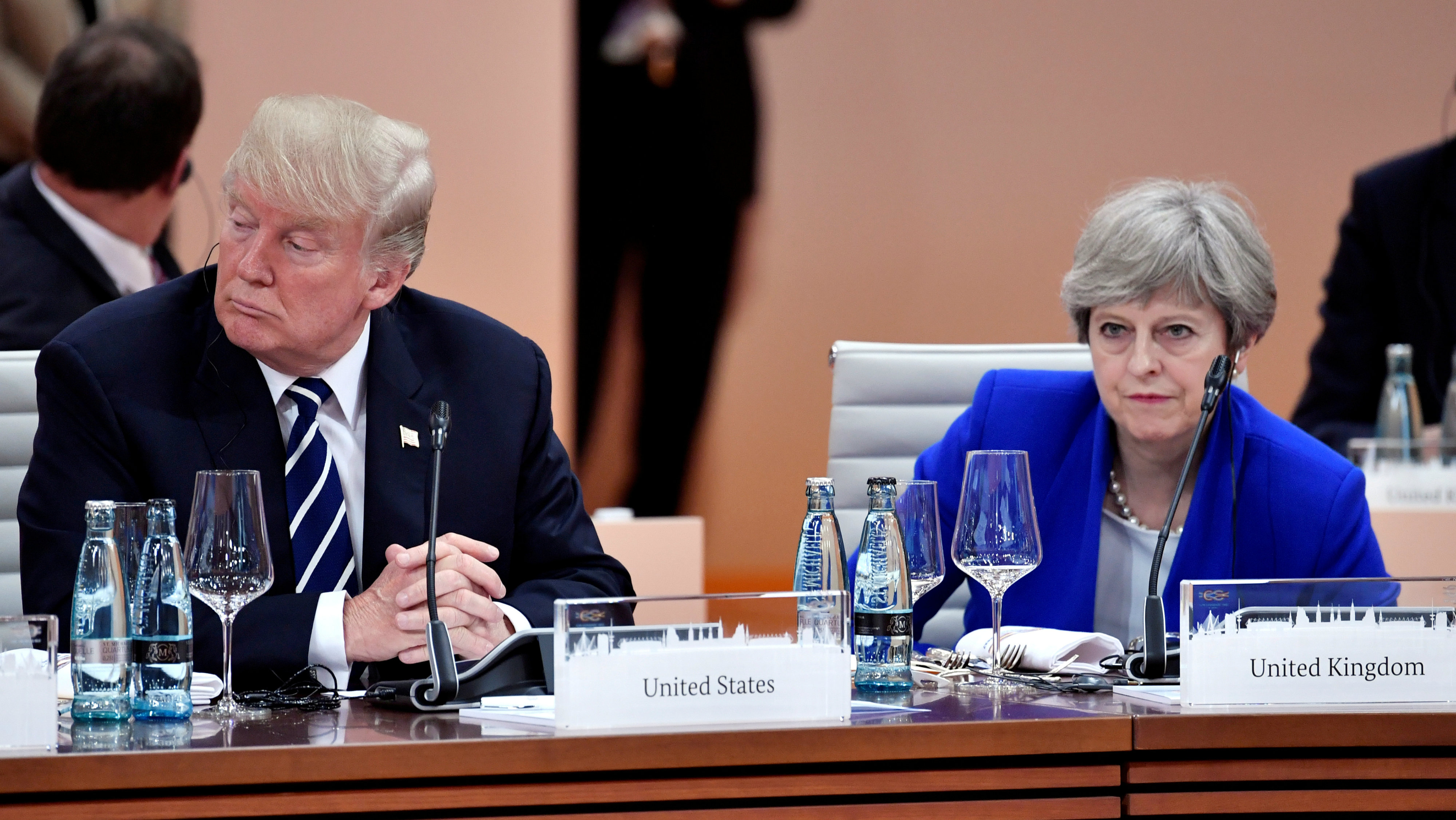 US president Donald Trump and UK prime minister Theresa May are pictured.